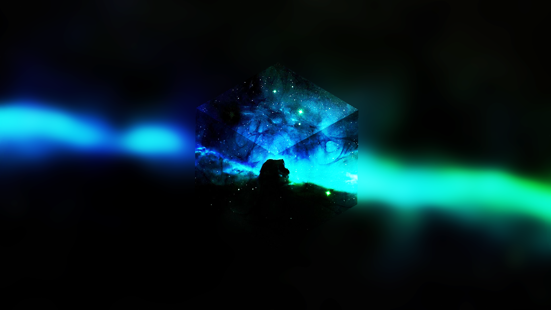 General 1920x1080 space blue abstract minimalism cube QuantomStarBox (Deviant Art) edit