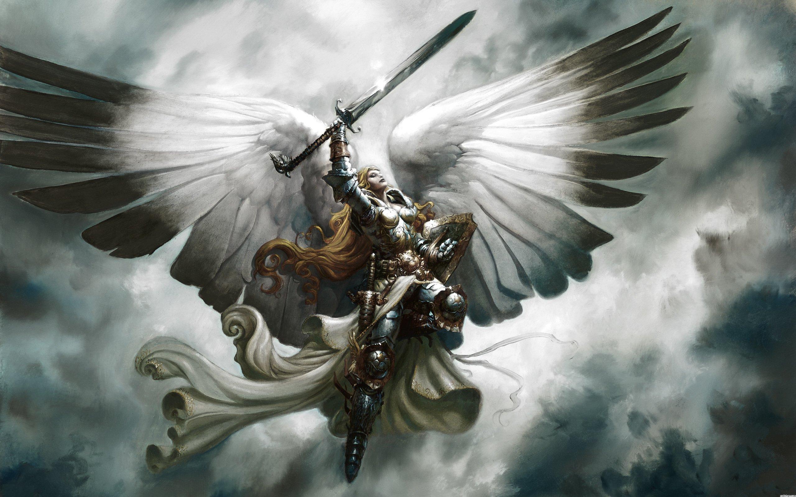 General 2560x1600 Magic: The Gathering sword angel armor women wings fantasy art closed eyes Serra Angel