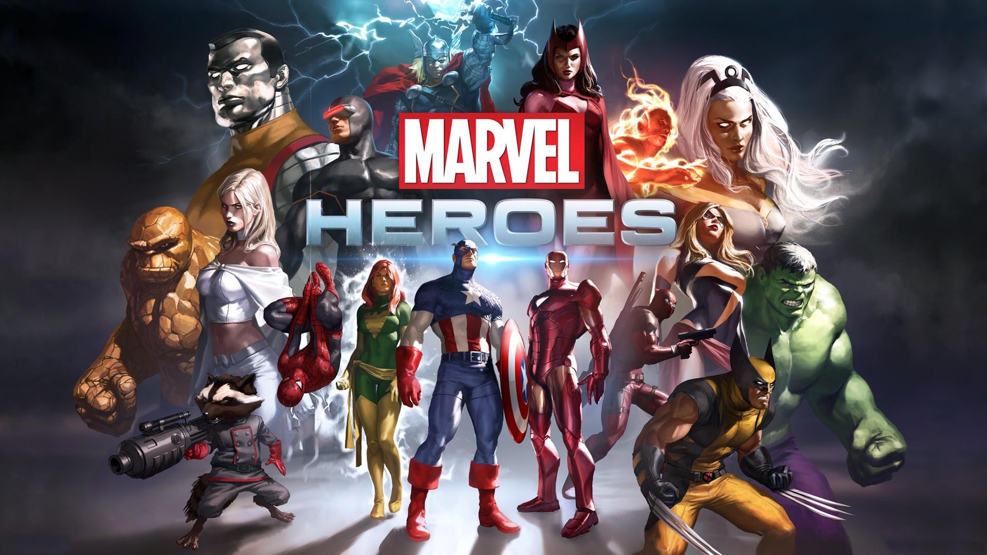 General 1920x1080 Marvel Heroes comic art Marvel Comics Iron Man Wolverine Spider-Man Captain America Hulk