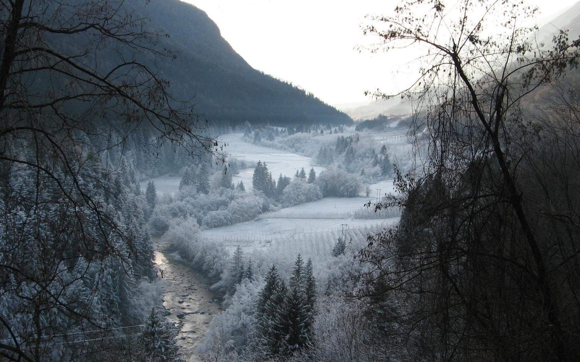 General 1920x1200 nature landscape winter river valley mountains snow forest field trees