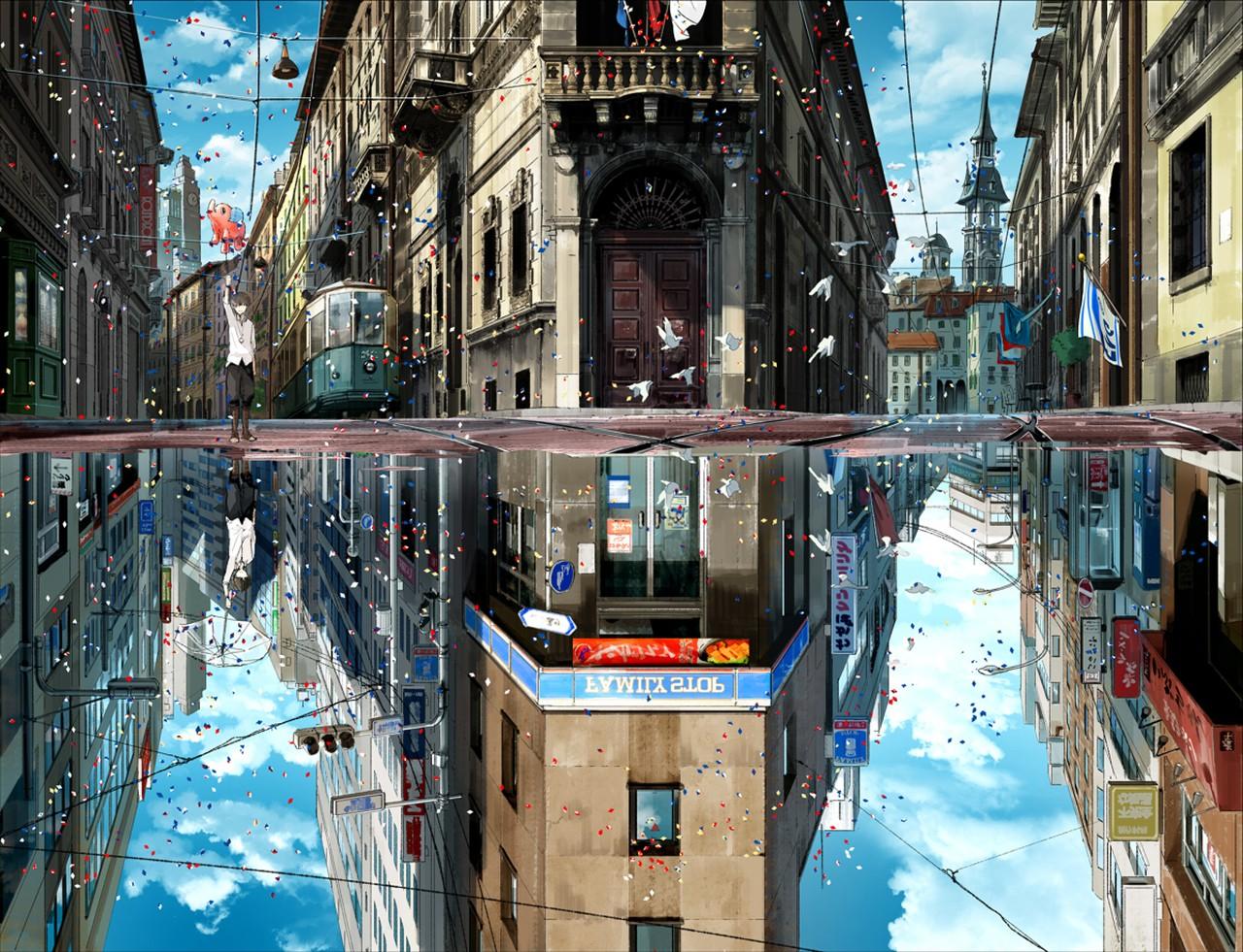 Anime 1280x981 anime artwork city upside down cityscape