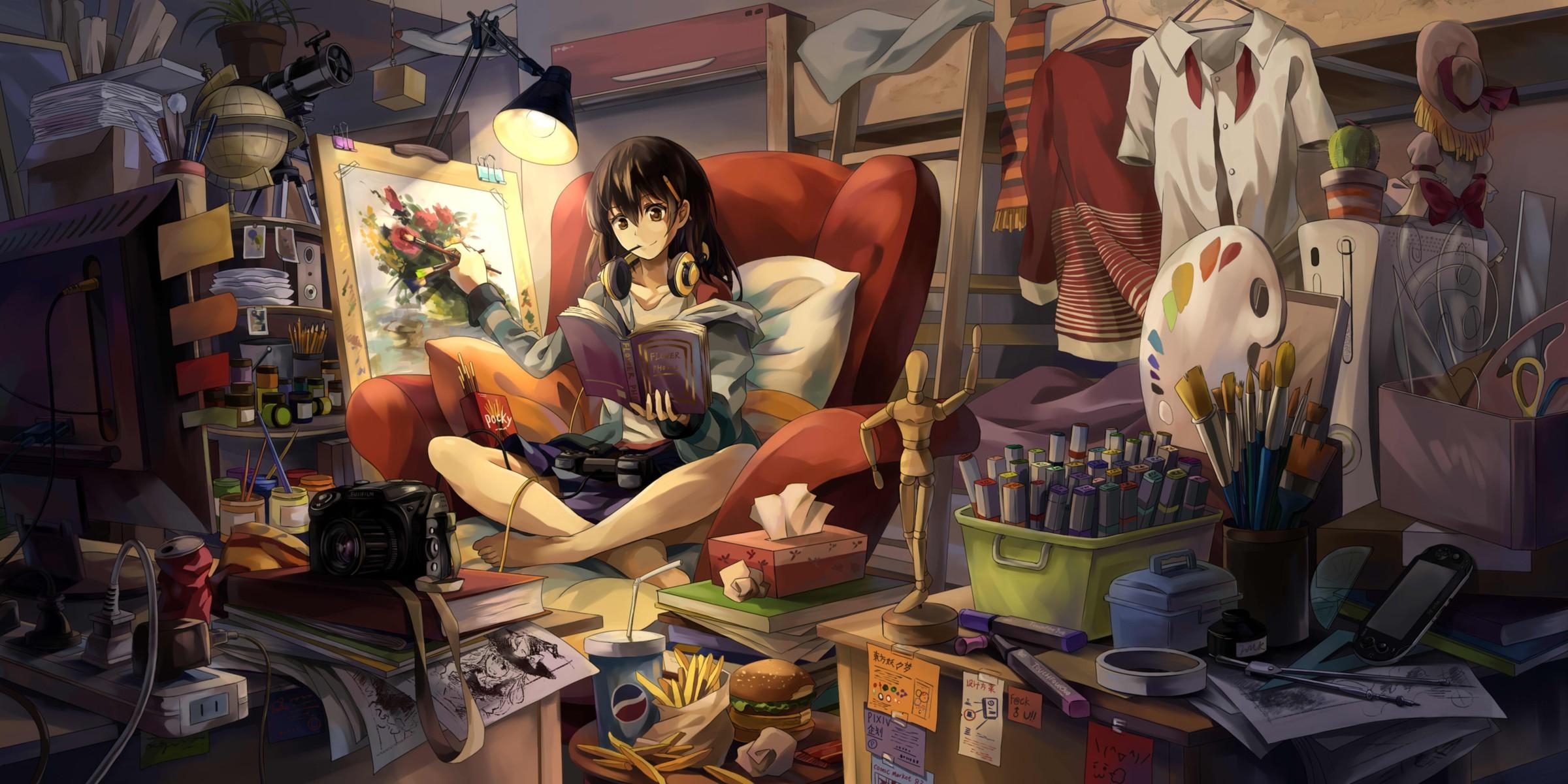 Anime 2400x1200 painting anime girls room original characters anime interior books artwork casual clutter NEKO (Yanshoujie)