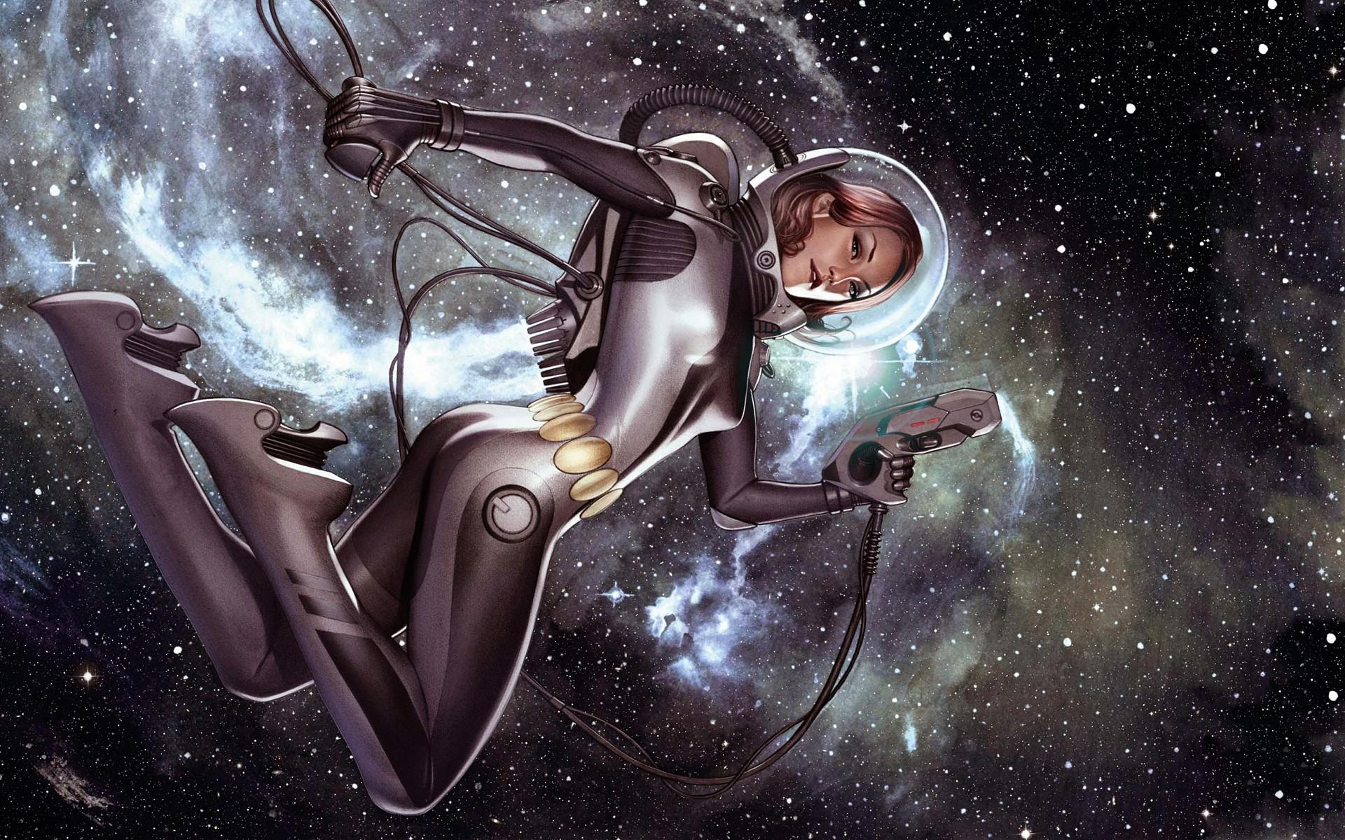 General 1920x1200 space astronaut space art vintage women artwork science fiction science fiction women