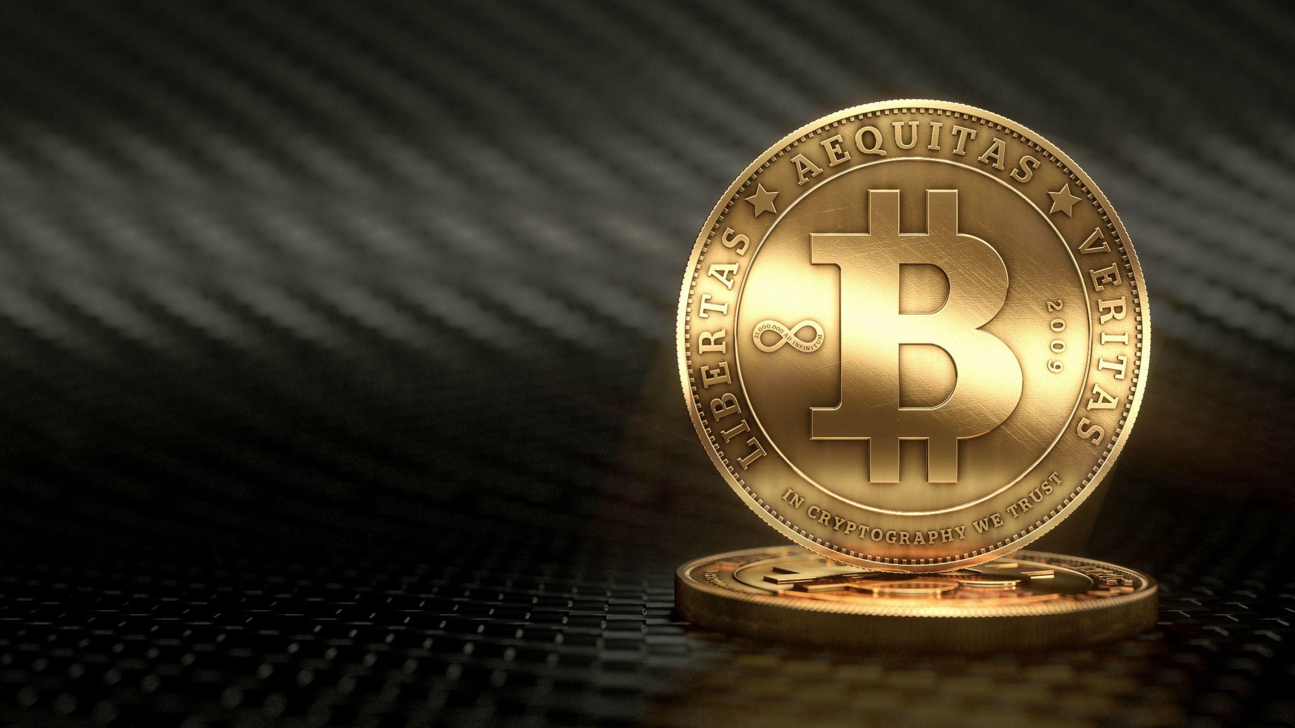 General 2559x1439 Bitcoin coins gold