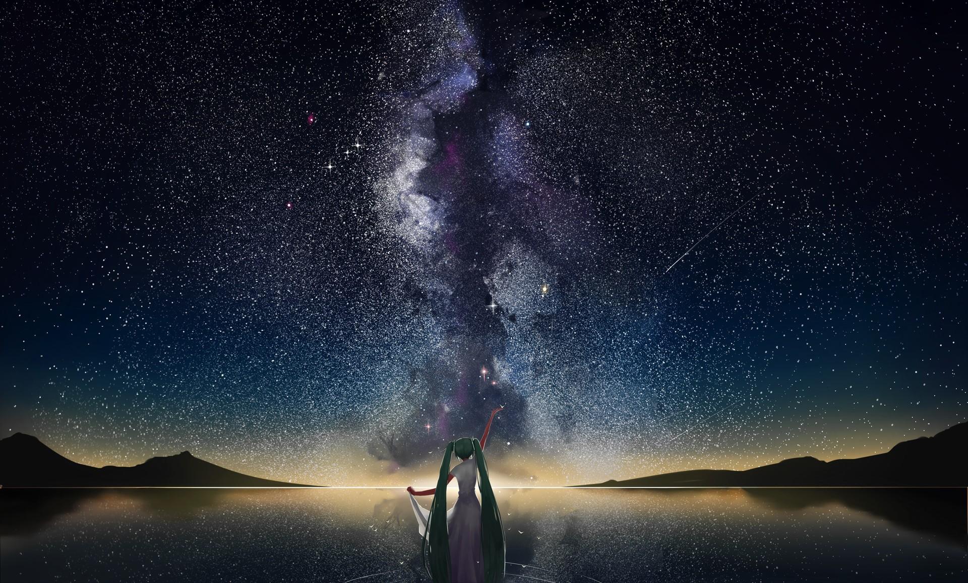 General 1920x1158 space mountains horizon stars shooting stars lake Hatsune Miku starry night green hair long hair sky women outdoors