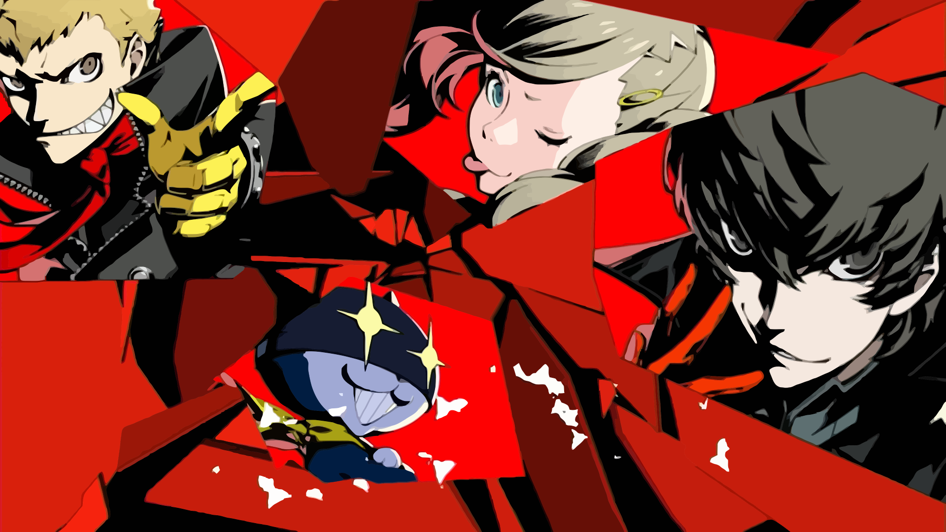 Persona 5 Persona Series Video Games Anime Anime Girls Anime Boys Collage Protagonist Persona 5 Ann Takamaki Morgana 1920x1080 Wallpaper Wallhaven Cc