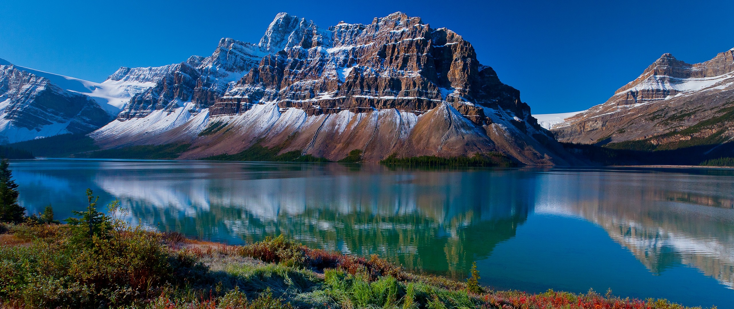 General 2560x1080 landscape lake mountains snowy mountain reflection nature spring cliff