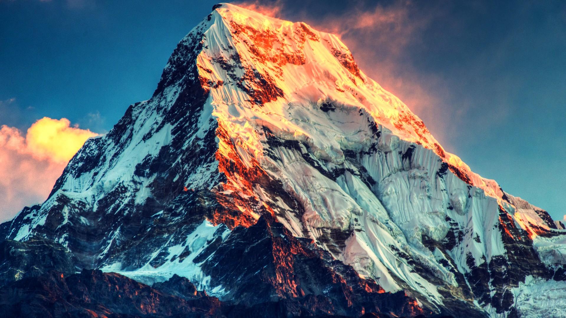 General 1920x1080 nature mountains Mount Everest landscape winter snow China sunset snowy peak Himalayas windy clouds sunlight annapurna