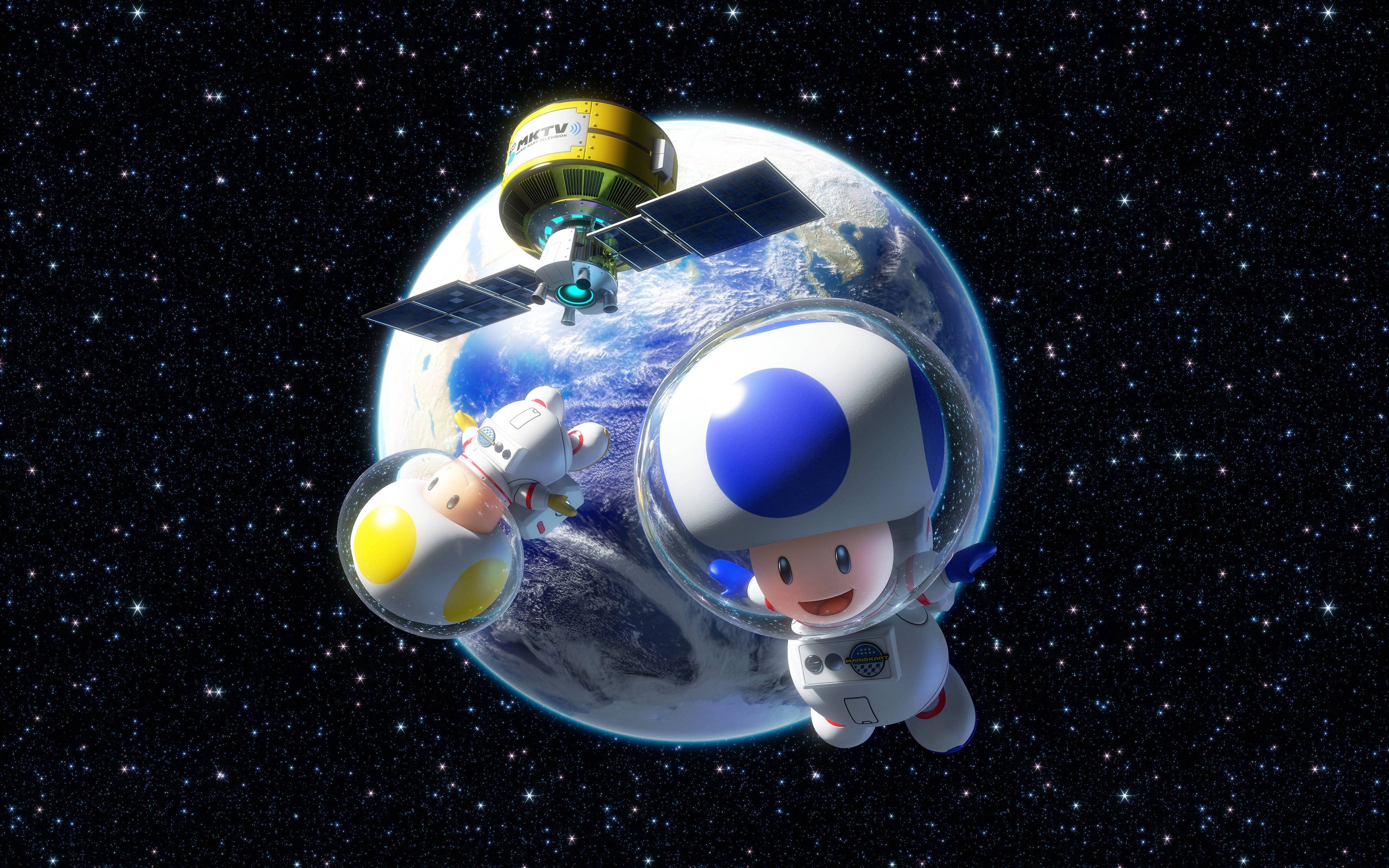 General 3840x2400 Toad (character) space video games Mario Kart 8 Nintendo astronaut Earth Mario Kart