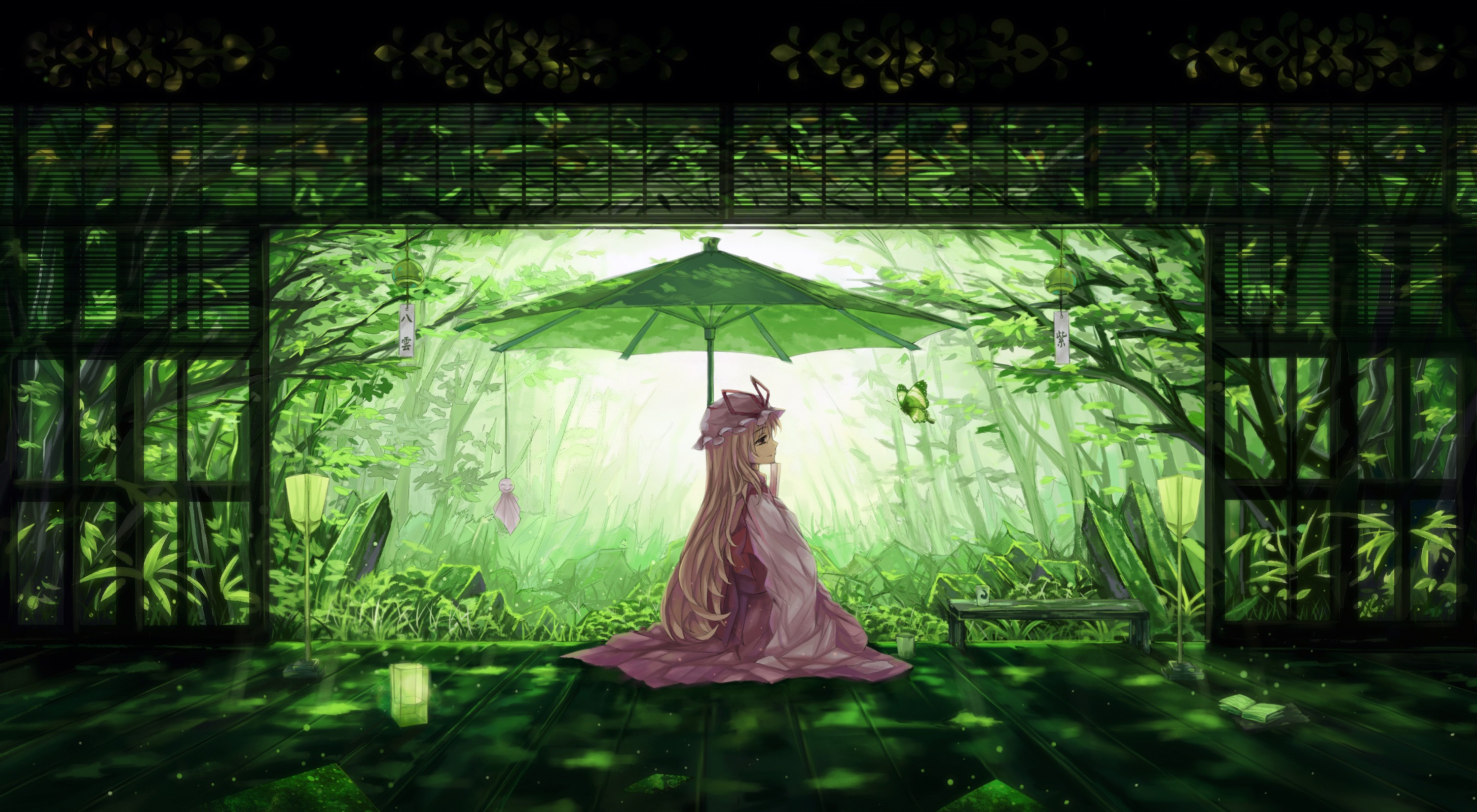 Anime 2994x1647 anime girls Touhou blonde long hair Japanese clothes Yakumo Yukari books trees parasol
