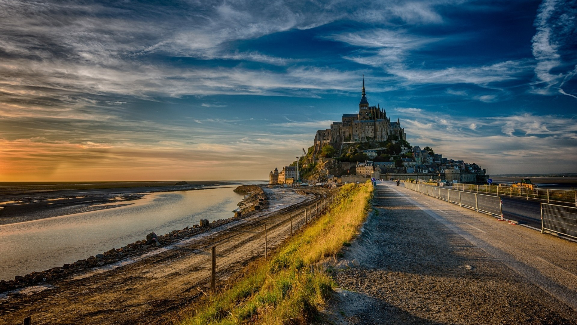 General 1920x1080 Mont Saint-Michel road castle clouds water Abbey island