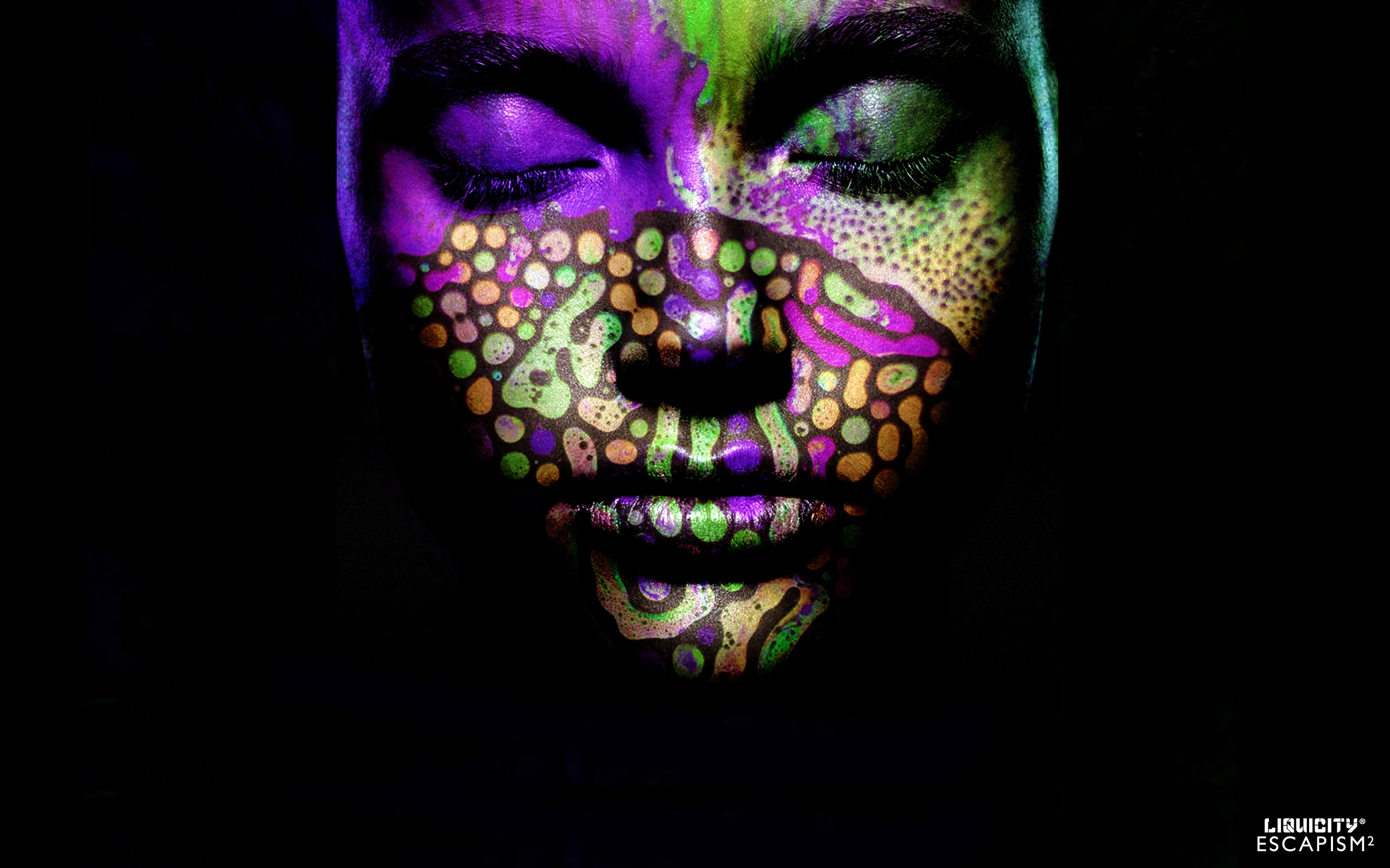 General 2560x1600 Liquicity liquid drum and bass drum and bass colorful face dark closed eyes makeup body paint simple background women black background