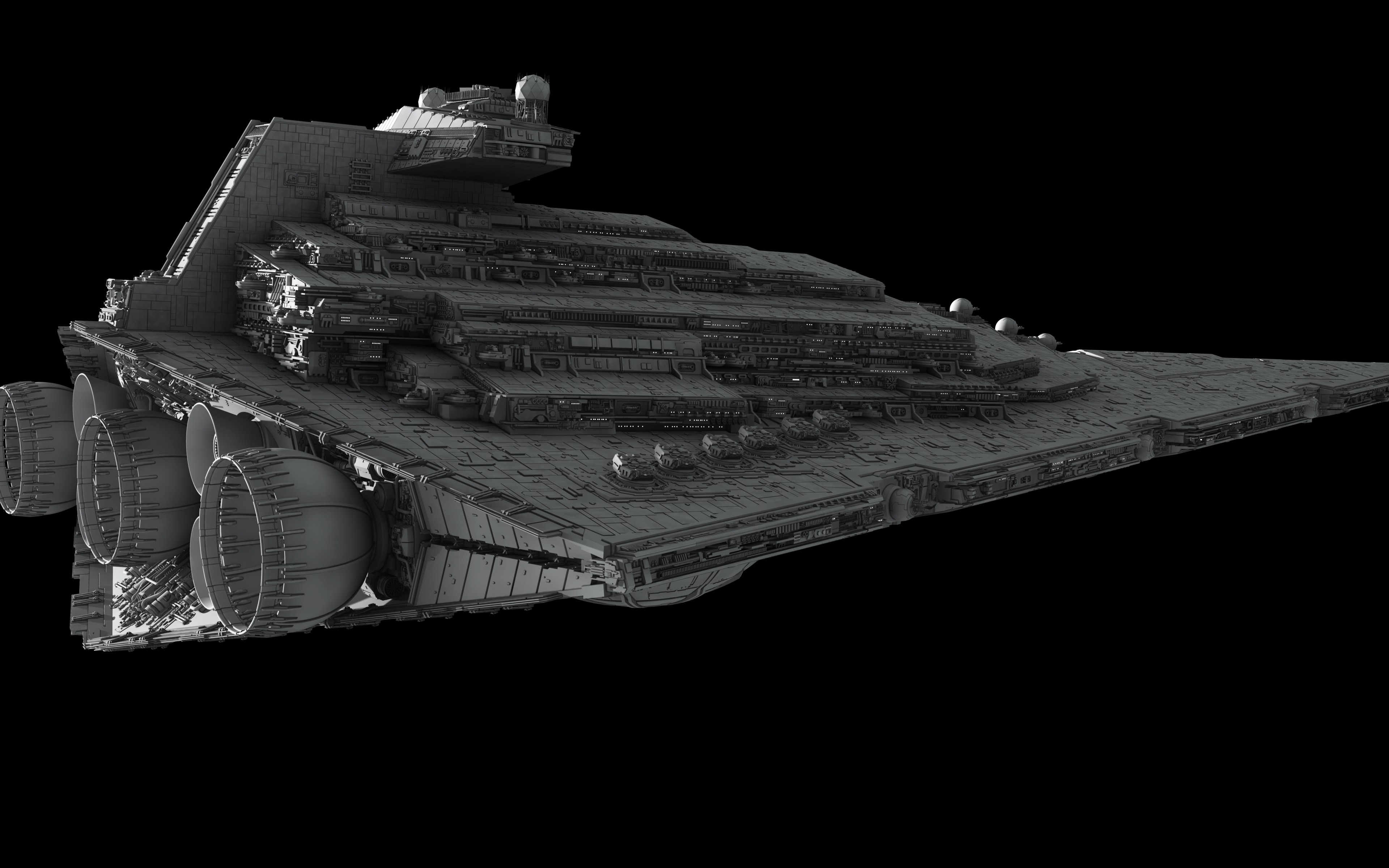 General 3840x2400 Star Wars Star Destroyer Imperial Forces render spaceship science fiction 3D digital art fractalsponge