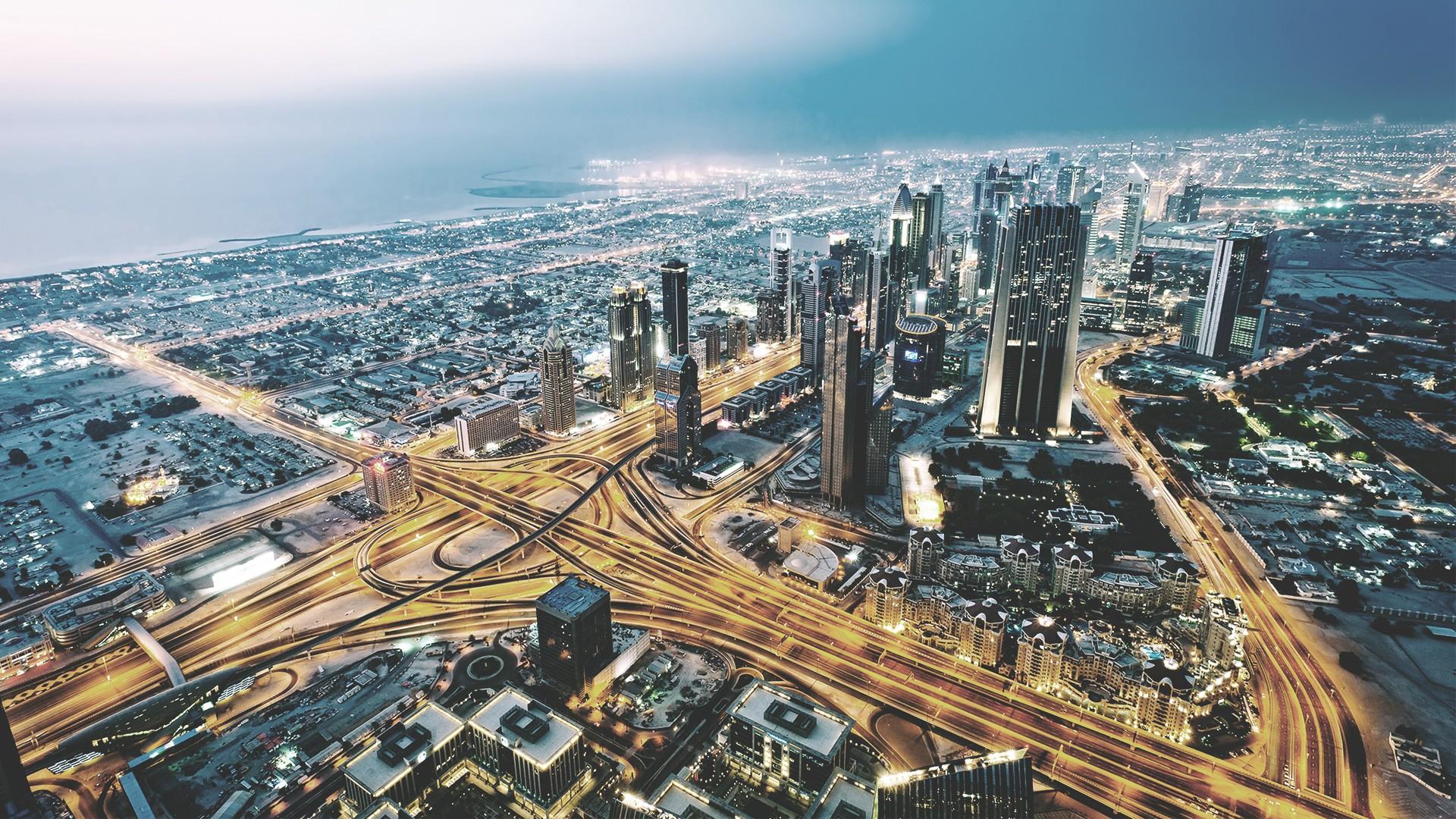 General 1920x1080 Dubai city cityscape night highway aerial view United Arab Emirates long exposure bird's eye view city lights