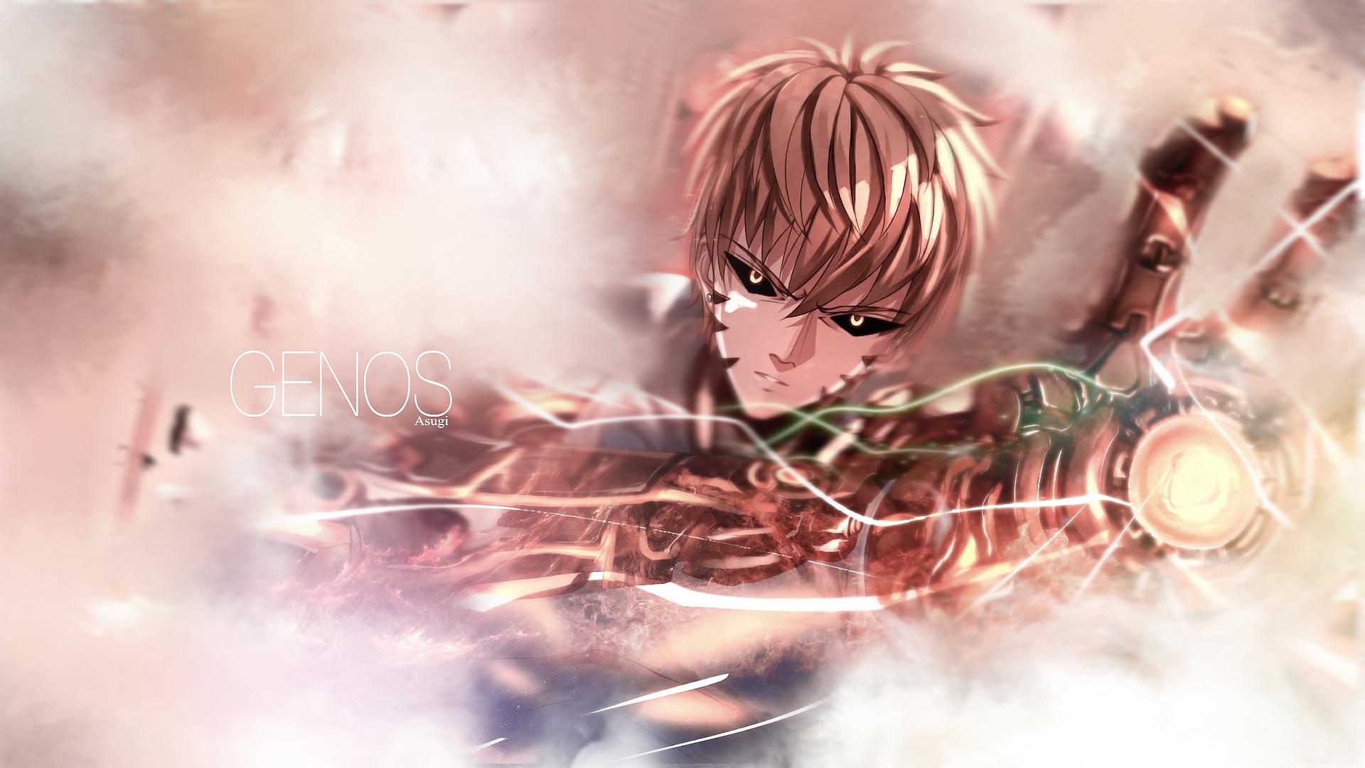 Anime 1920x1080 One-Punch Man anime cyborg Genos yellow eyes