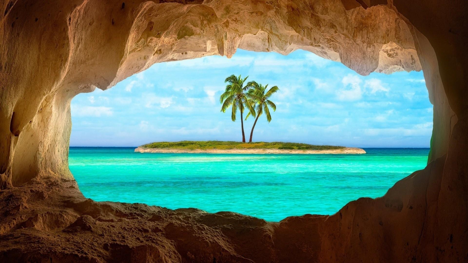 General 1920x1080 island Caribbean cave palm trees sea turquoise rock horizon