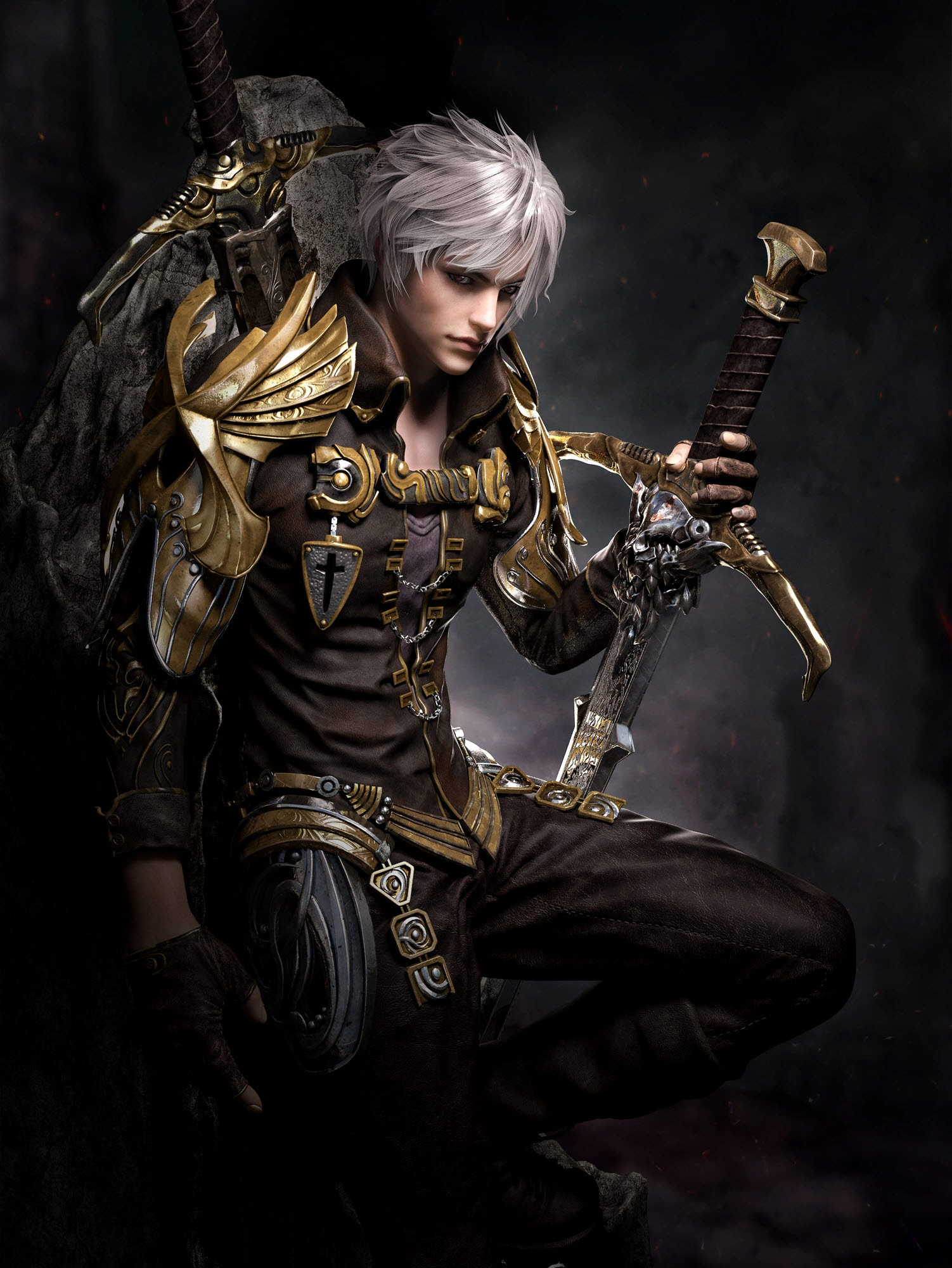 General 1502x2000 sword fantasy art grey hair armor