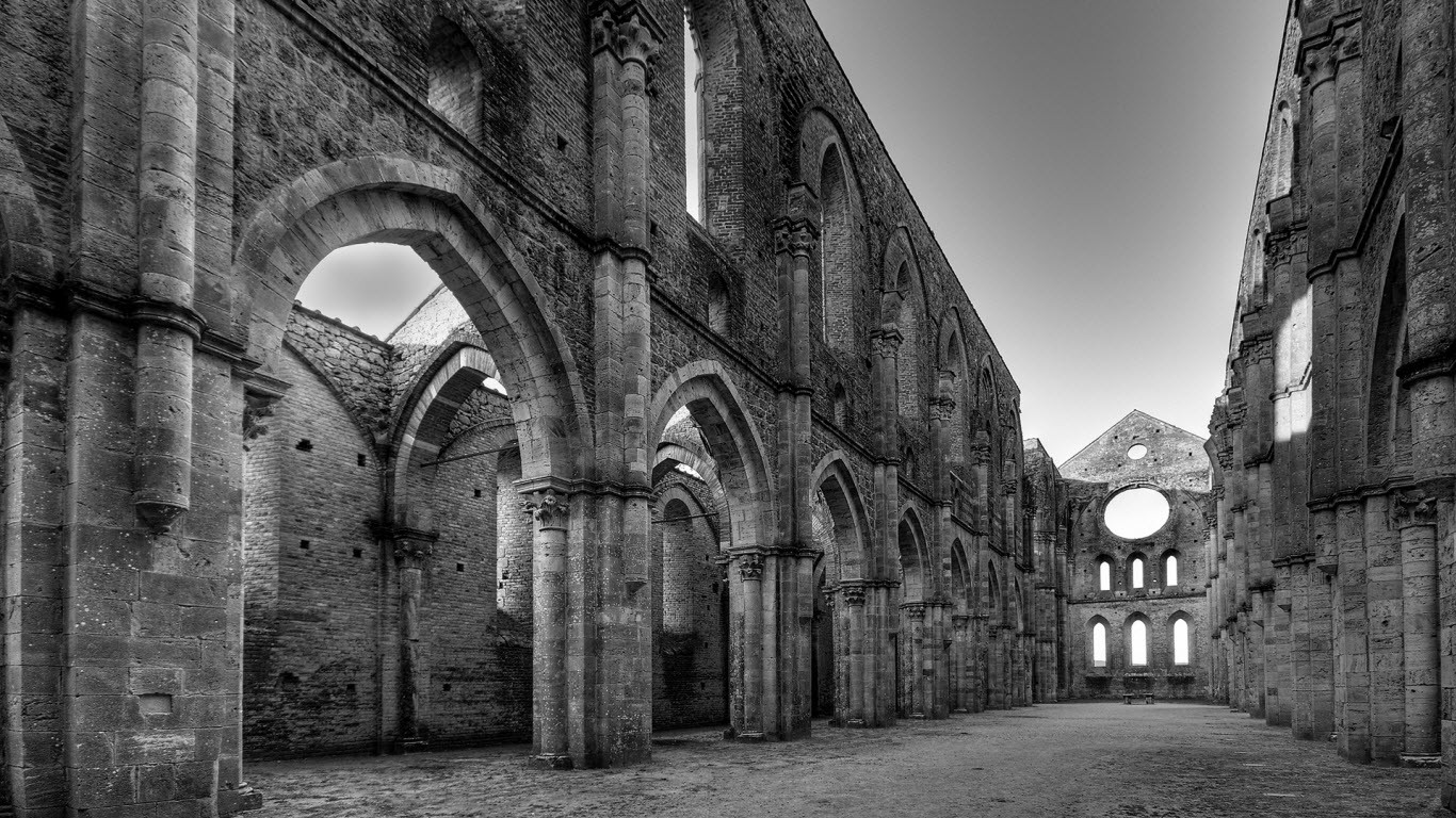 General 1366x768 landscape ruins monochrome medieval monastery