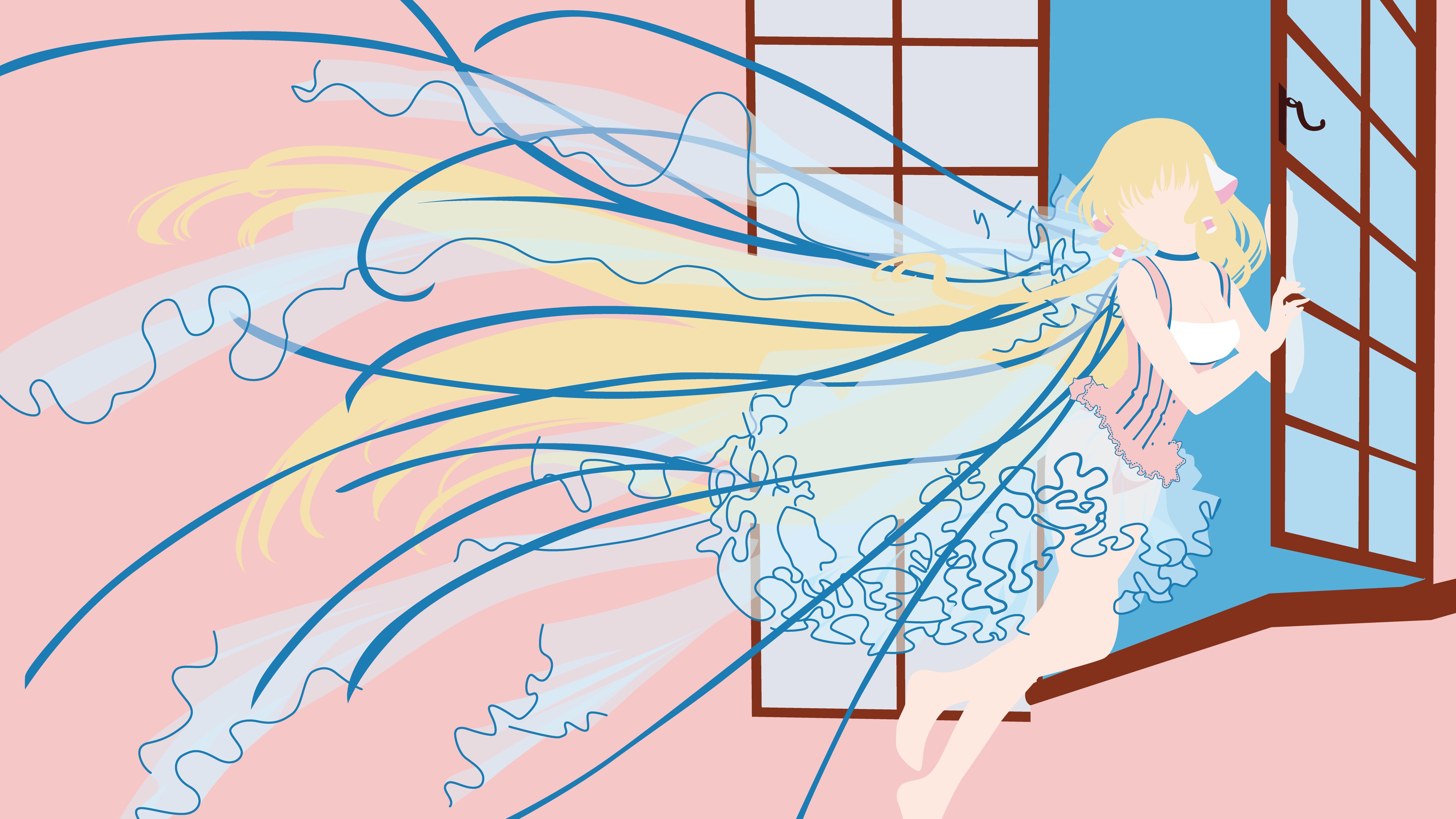 Anime 5443x3061 Chobits manga anime girls long hair blonde pink background window