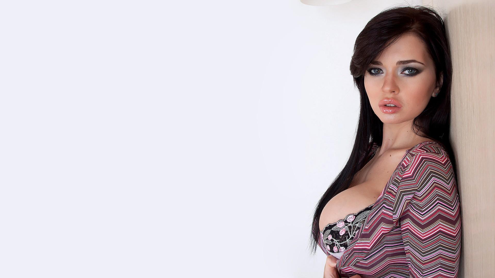People 1920x1080 brunette simple background Ekaterina Sidorenko Sha Rizel pornstar