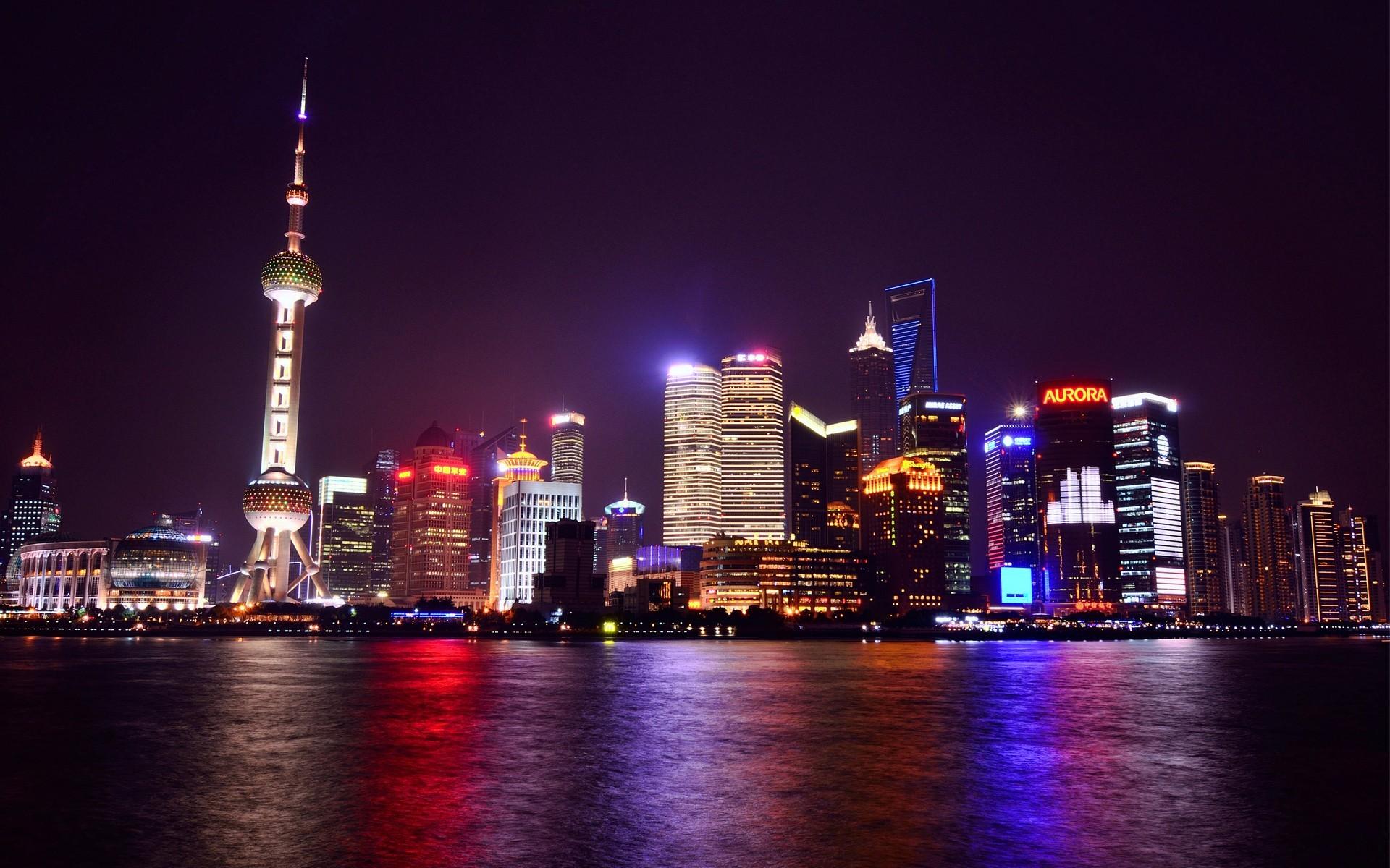 General 1920x1200 night city Shanghai skyscraper city lights Asia lights China water
