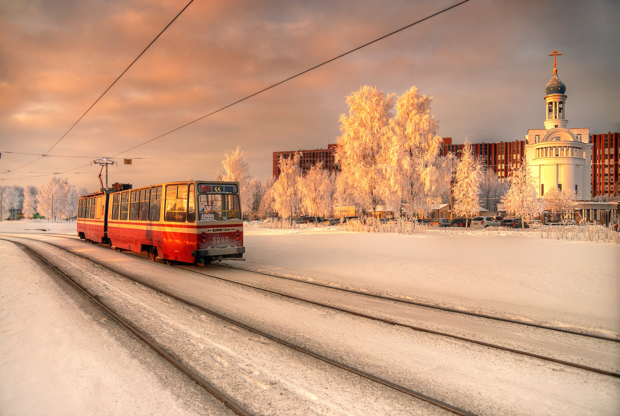 General 2048x1376 winter St. Petersburg city tram church Orthodox snow evening Russia