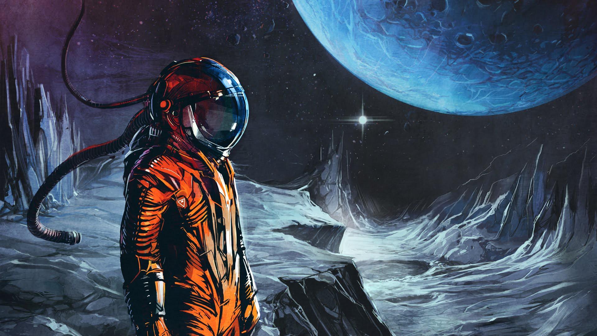 General 1920x1080 fantasy art science fiction space suit artwork space astronaut Klayton space art digital art universe spacesuit planet helmet stars album covers cover art fictional characters