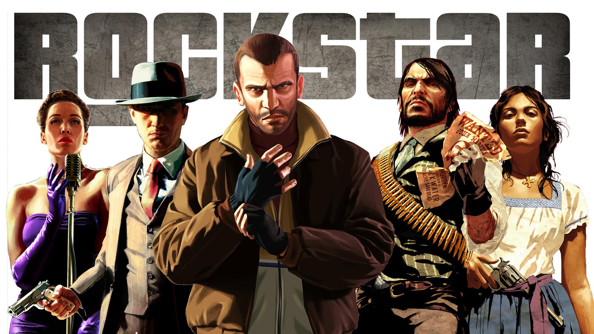 General 1920x1080 Grand Theft Auto IV L.A. Noire Niko Bellic Red Dead Redemption video games John Marston Rockstar Games video game man video game girls