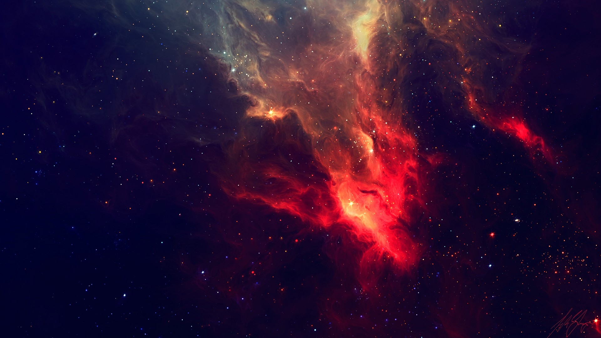 General 1920x1080 space stars nebula TylerCreatesWorlds space art red digital art artwork universe