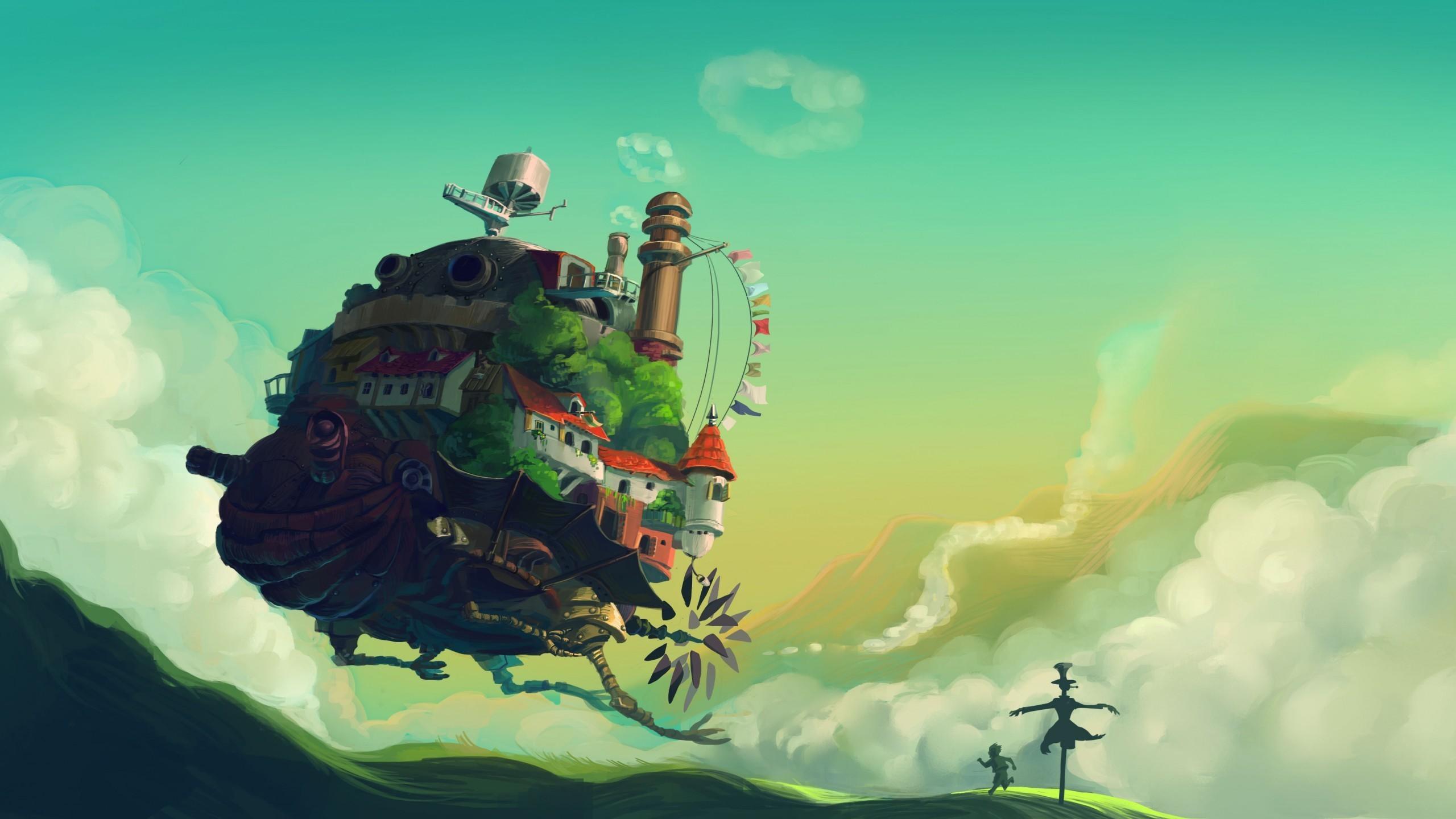 General 2560x1440 Studio Ghibli Howl's Moving Castle fantasy art artwork anime digital art
