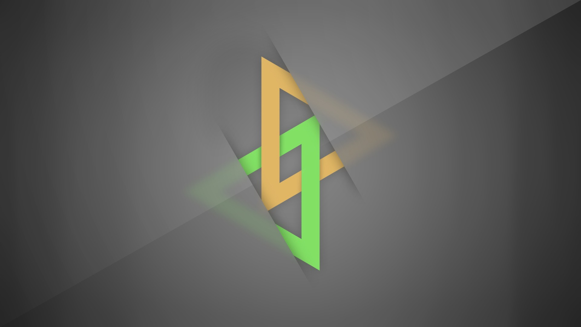 General 1920x1080 minimalism gray gray background digital art triangle yellow green lines shapes