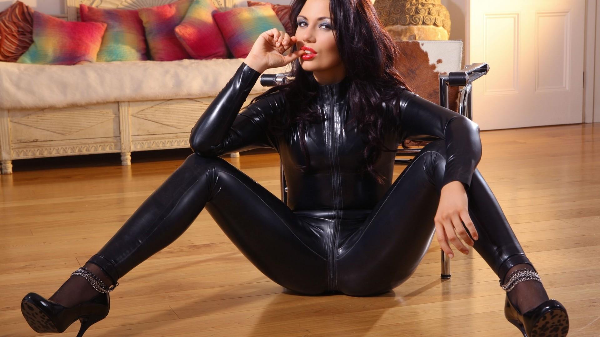 People 1920x1080 model women catsuit latex black latex spread legs sitting