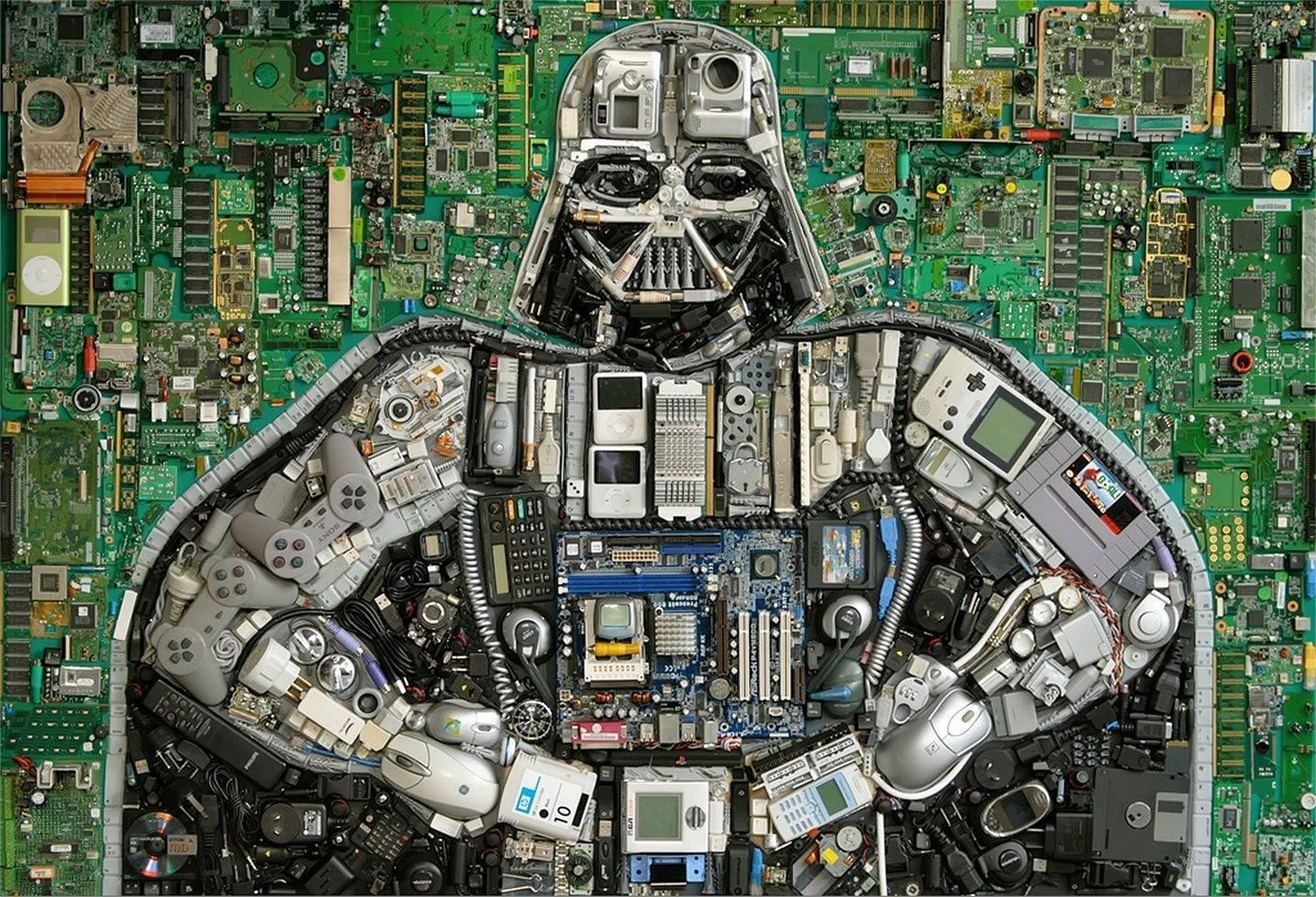 General 1434x977 Star Wars motherboards Darth Vader circuit boards hardware Nintendo controllers Ipod computer mice floppy disk PCB