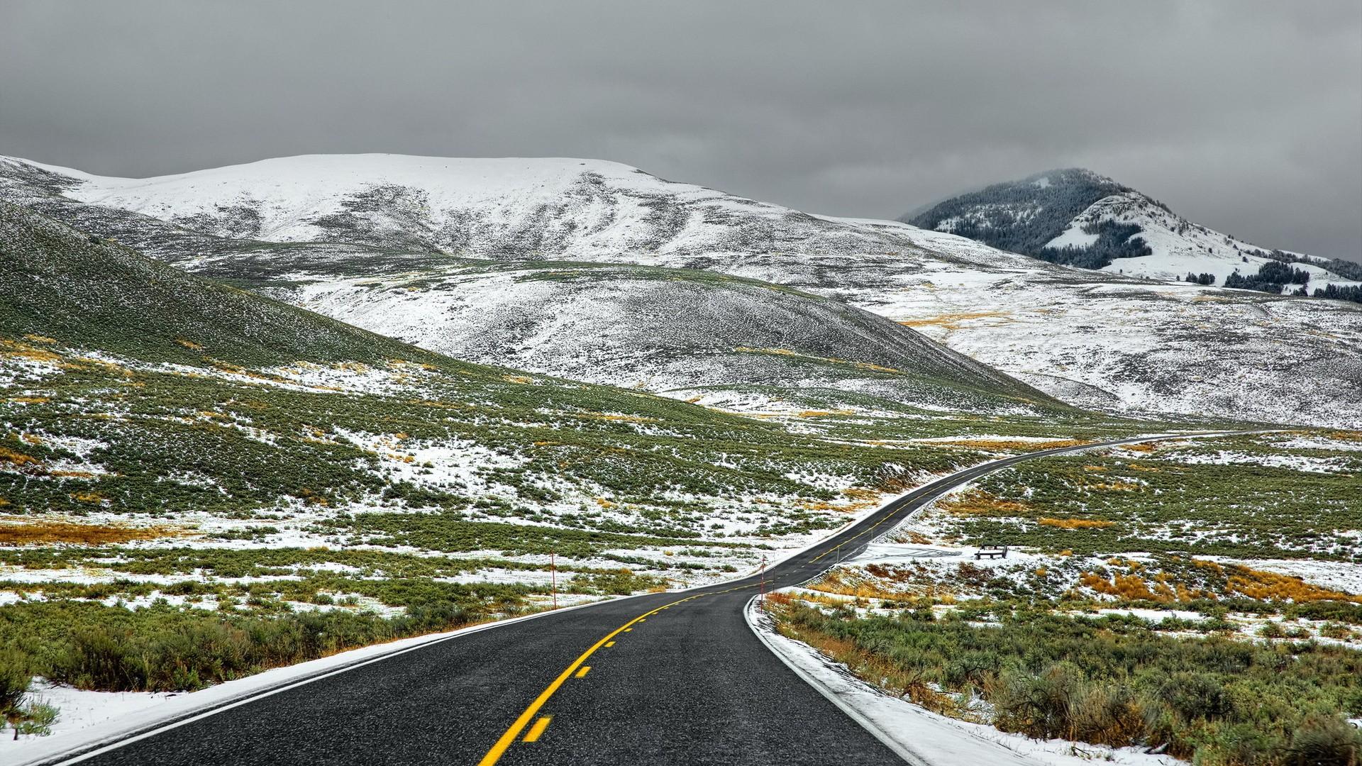 General 1920x1080 landscape road winter overcast hills mountains snow plains shrubs