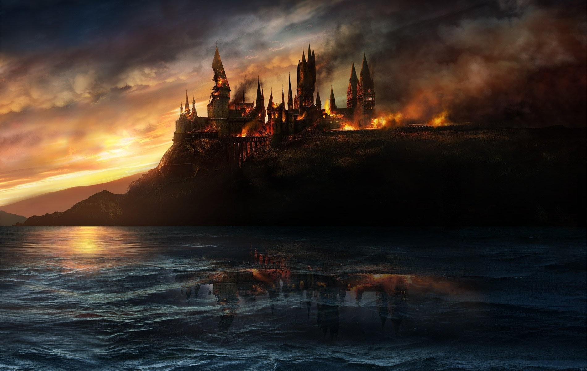 General 1900x1200 Hogwarts destruction fire castle fantasy art sea clouds reflection Harry Potter and the Deathly Hallows movies Harry Potter