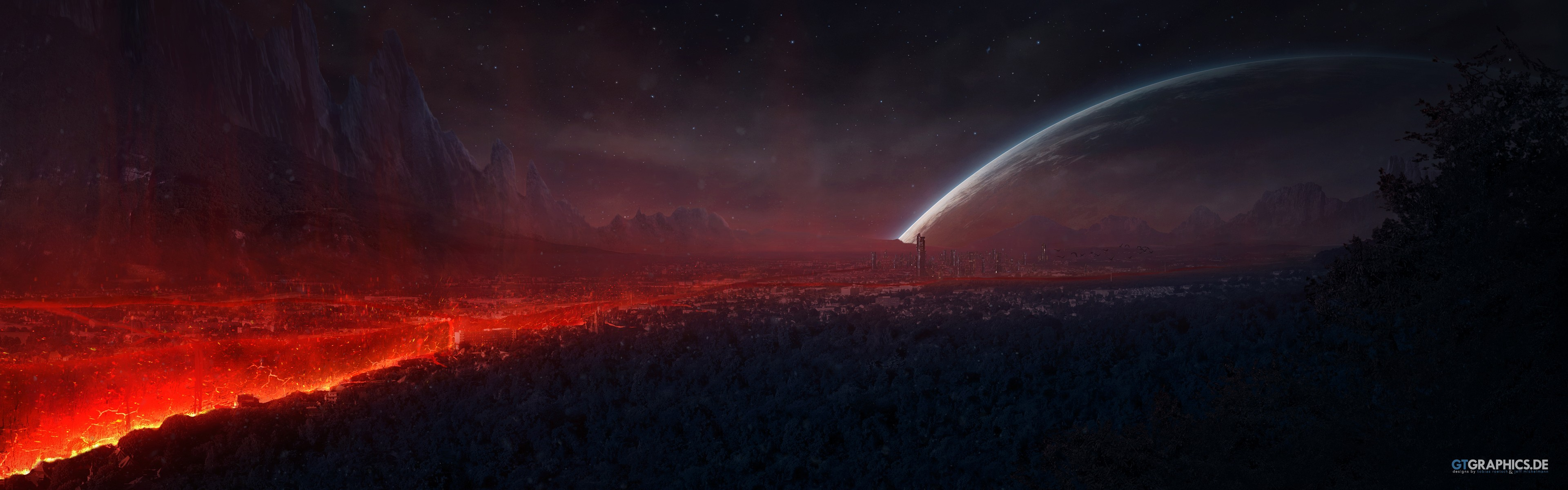 General 3840x1200 space red digital art artwork planet apocalyptic sky dark