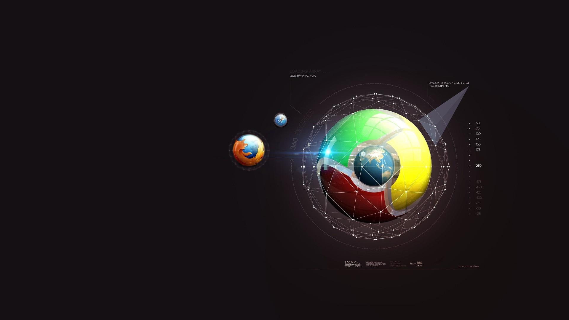 General 1920x1080 Mozilla Firefox Google minimalism Google Chrome digital art logo