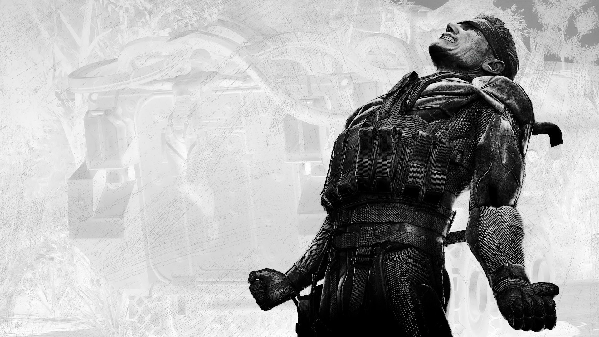 General 1920x1080 Metal Gear Solid  soldier video games PC gaming military monochrome Metal Gear Solid 4