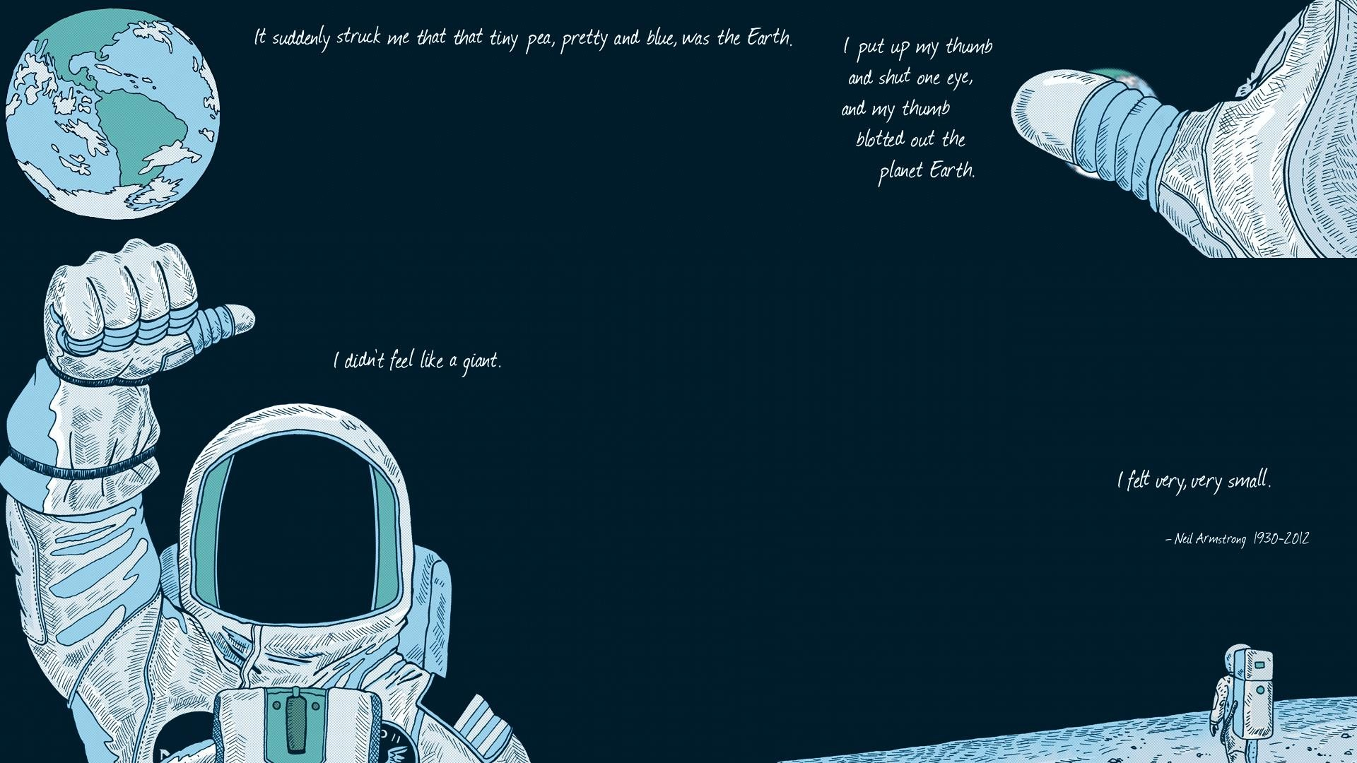 General 1920x1080 Neil Armstrong Earth space space suit Moon text typography artwork astronaut