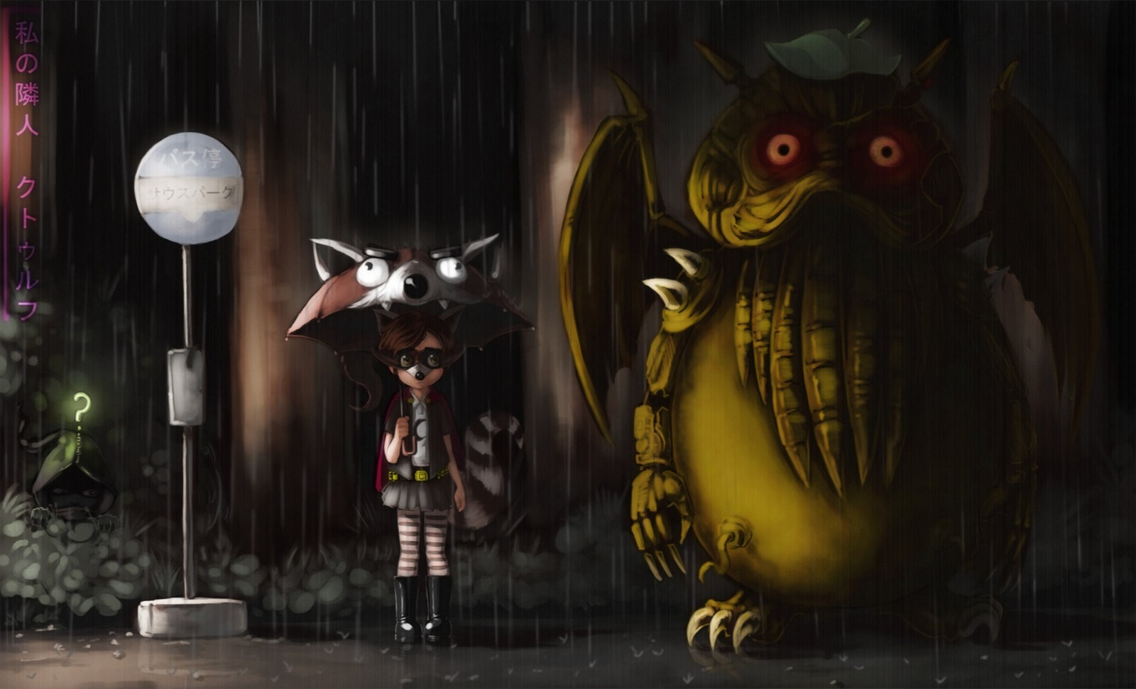 Anime 1600x971 My Neighbor Totoro fan art Cthulhu Studio Ghibli artwork digital art rain umbrella anime crossover animated movies South Park