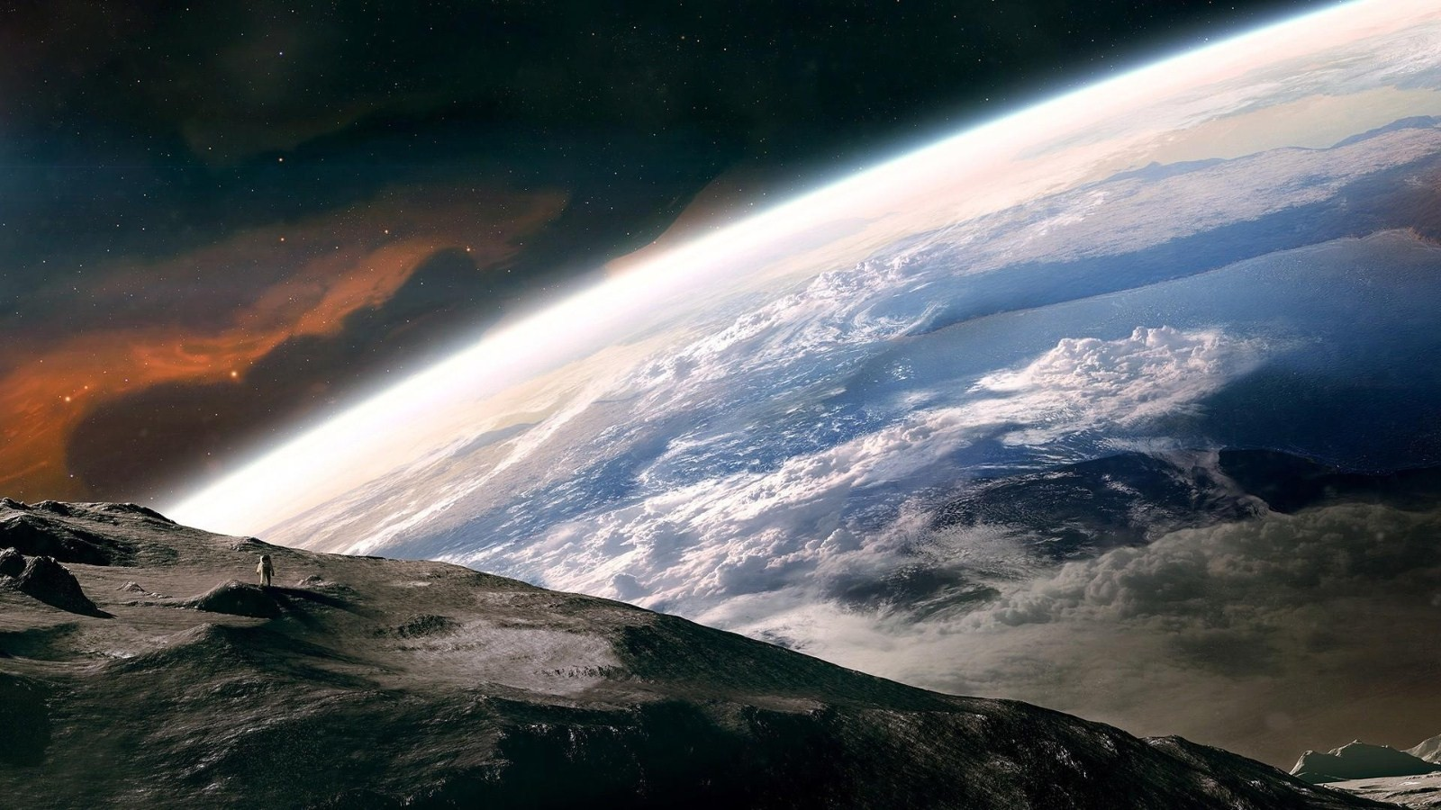 General 1600x900 space stars planet Moon spacesuit space art astronaut digital art