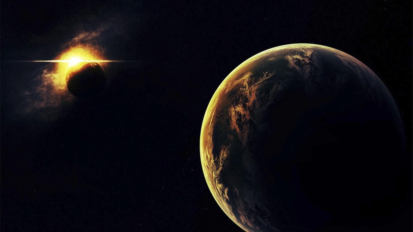 General 1366x768 space Earth digital art space art planet