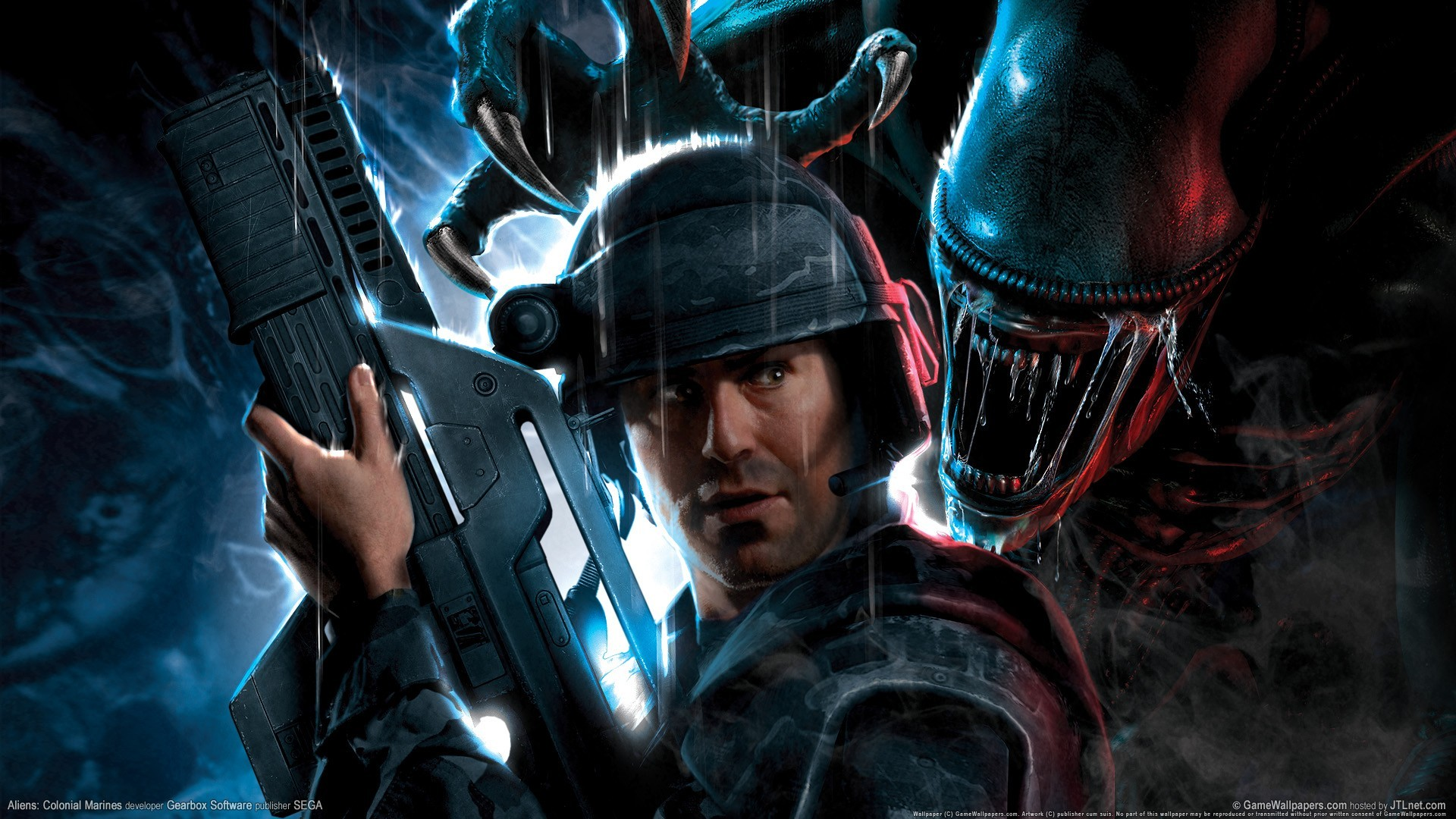 General 1920x1080 video games Aliens: Colonial Marines Xenomorph weapon horror science fiction video game art Gearbox Software Sega space marines video game man Science Fiction Men Alien (Creature) PC gaming