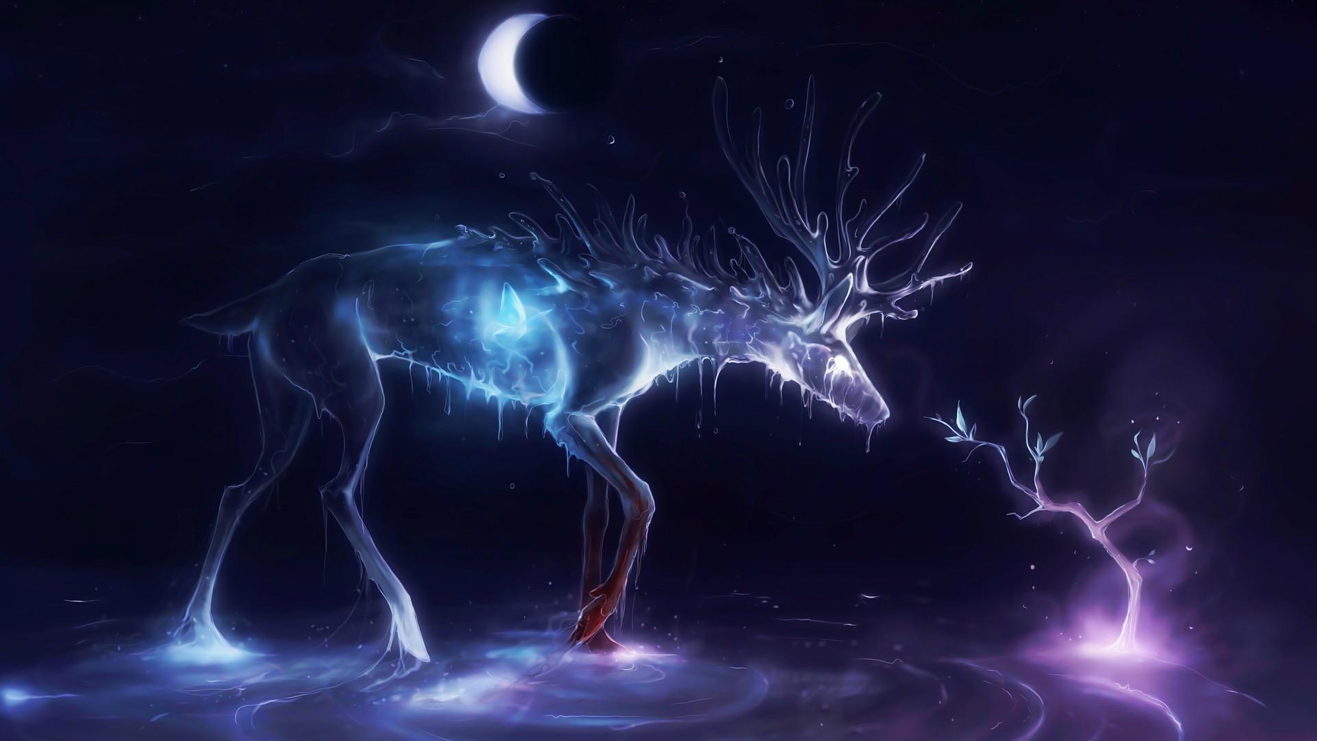 General 1920x1080 deer crescent moon glowing animals artwork night ripples antlers
