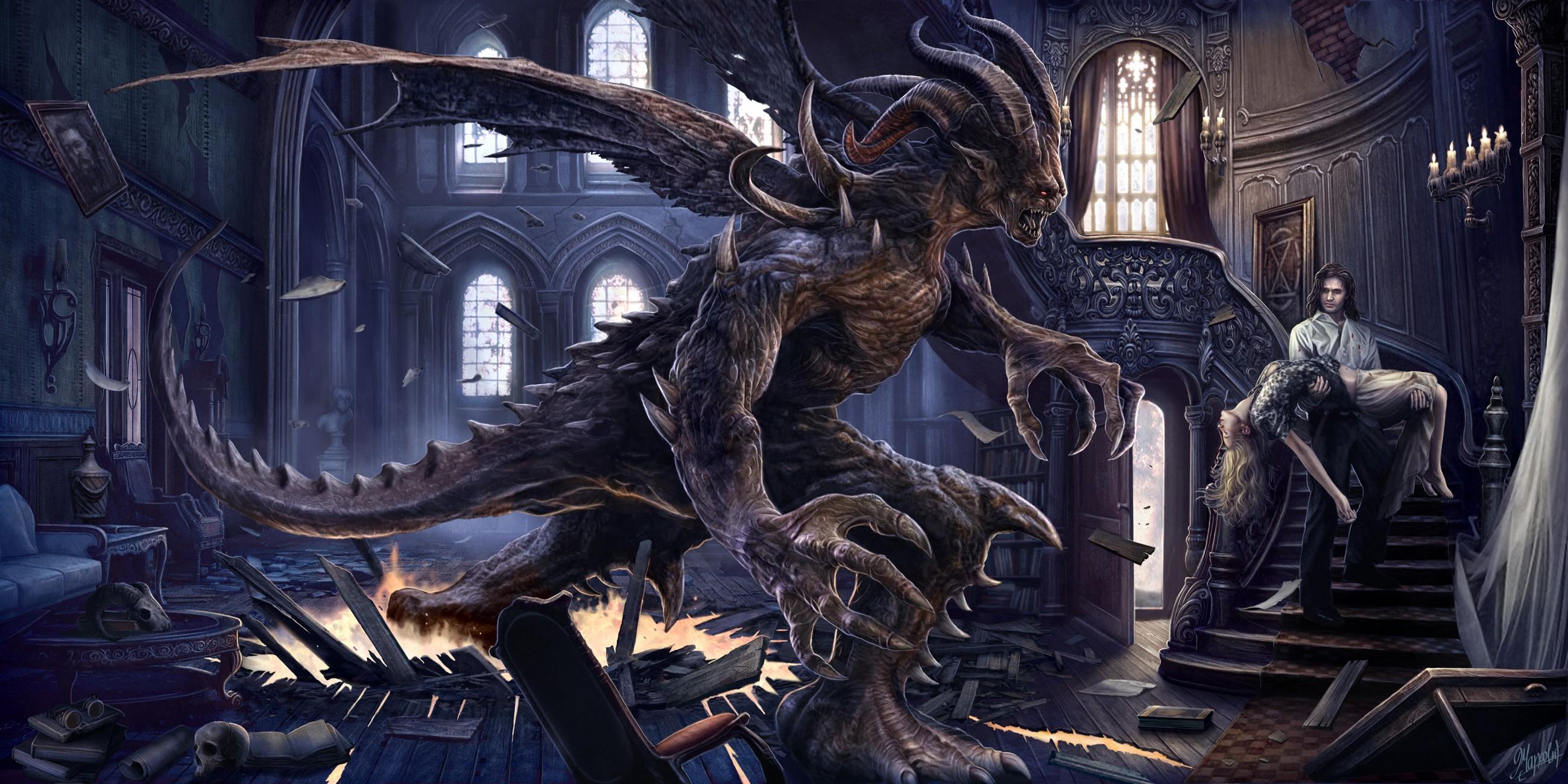 General 2600x1300 fantasy art artwork digital art creature interior couple staircase demon Victorian hell skull window dead