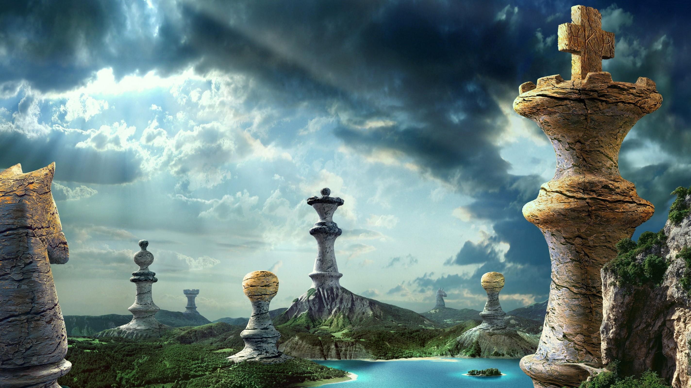 General 2847x1599 digital art fantasy art clouds nature landscape chess pawns king horse hills rock water island sunlight trees queen (royalty)