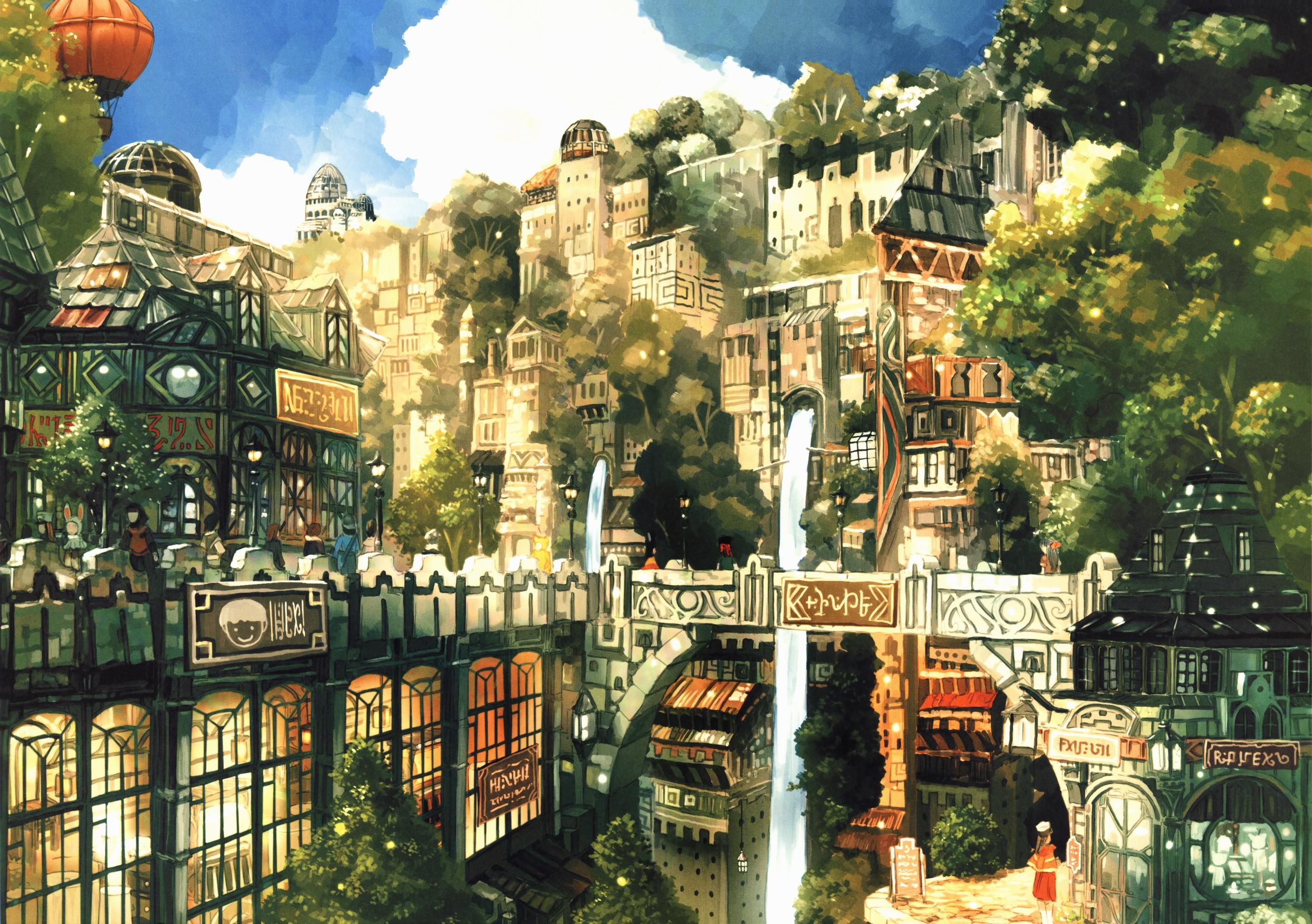 Anime 2828x1992 waterfall hot air balloons anime fantasy city moescape fantasy art