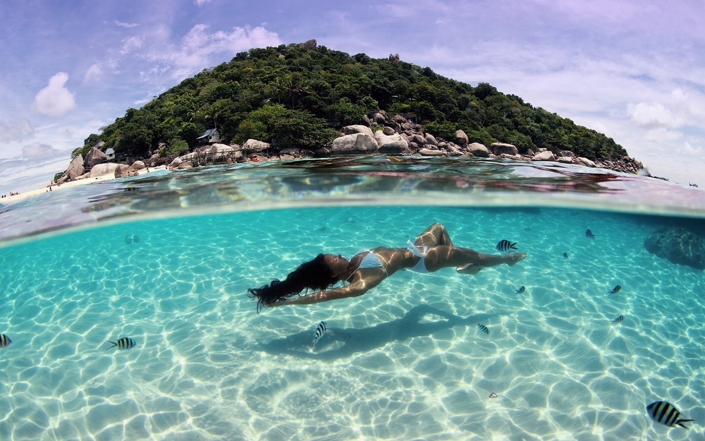 General 1400x875 landscape nature tropical beach island sea underwater summer women bikini wet body wet hair women outdoors