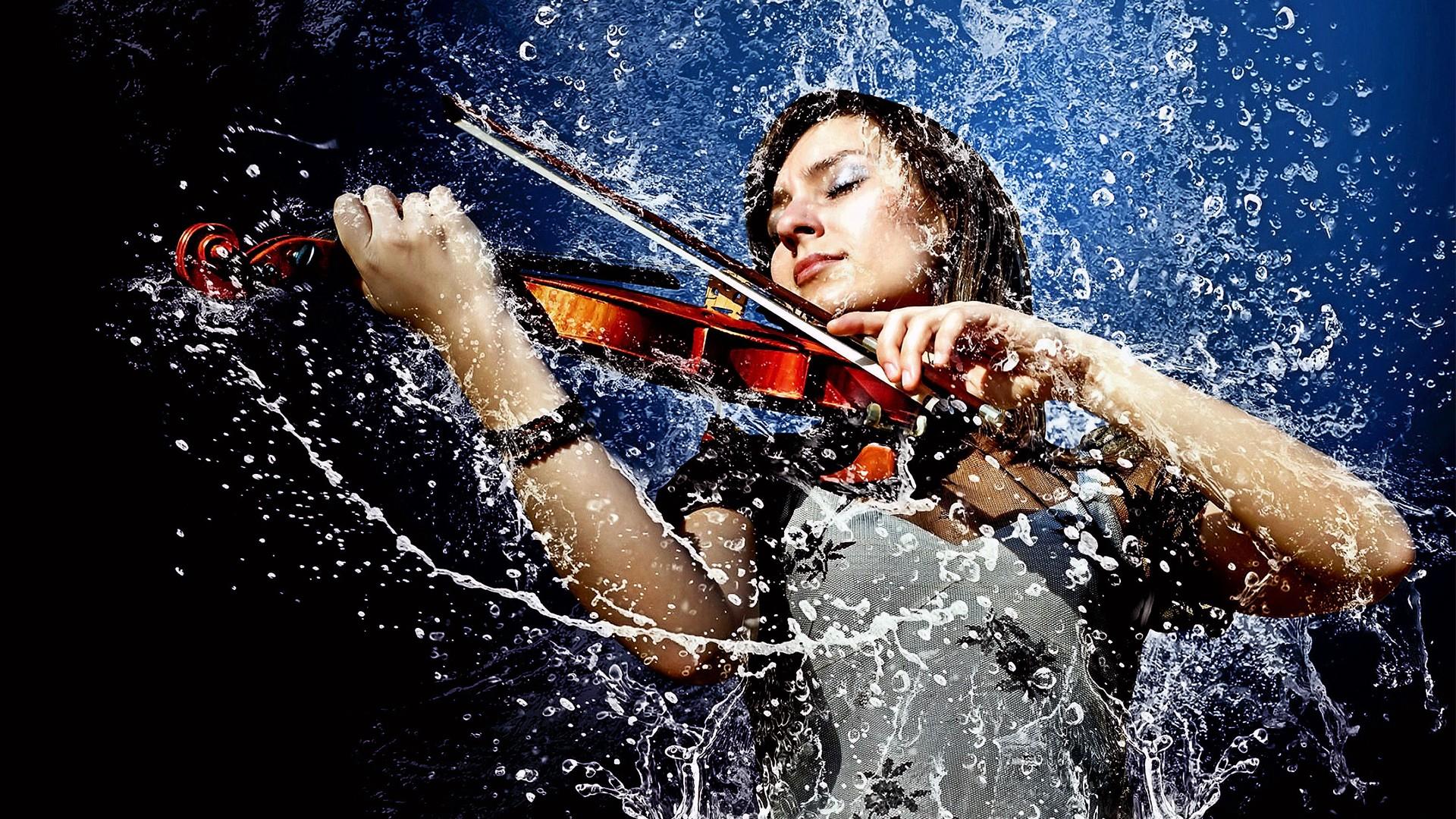 People 1920x1080 women music violin water rain liquid wet closed eyes musician musical instrument photo manipulation water drops