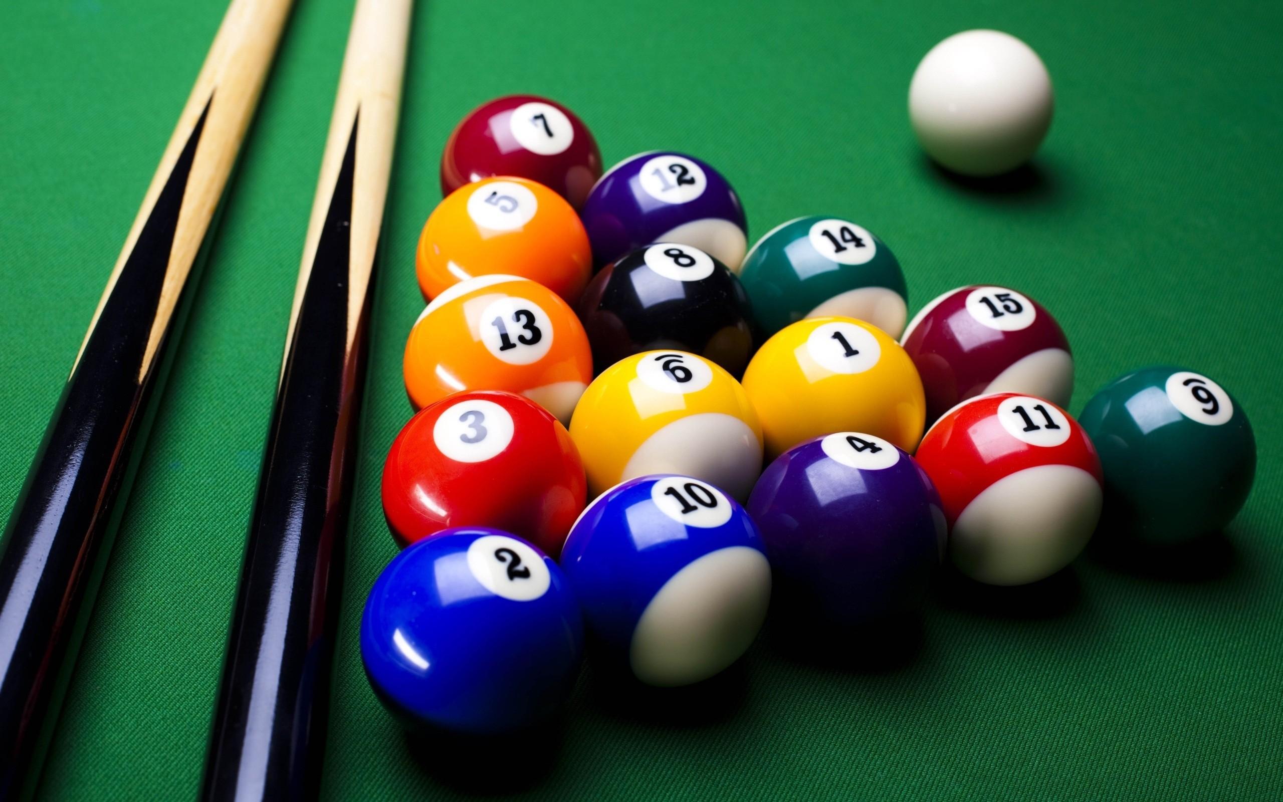General 2560x1600 billiard balls pool table 8-ball colorful